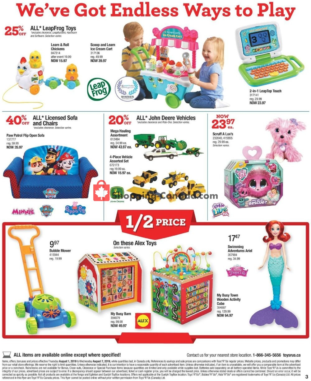 Flyer Toys R Us / Babies R Us Canada - from Thursday August 1, 2019 to Wednesday August 7, 2019