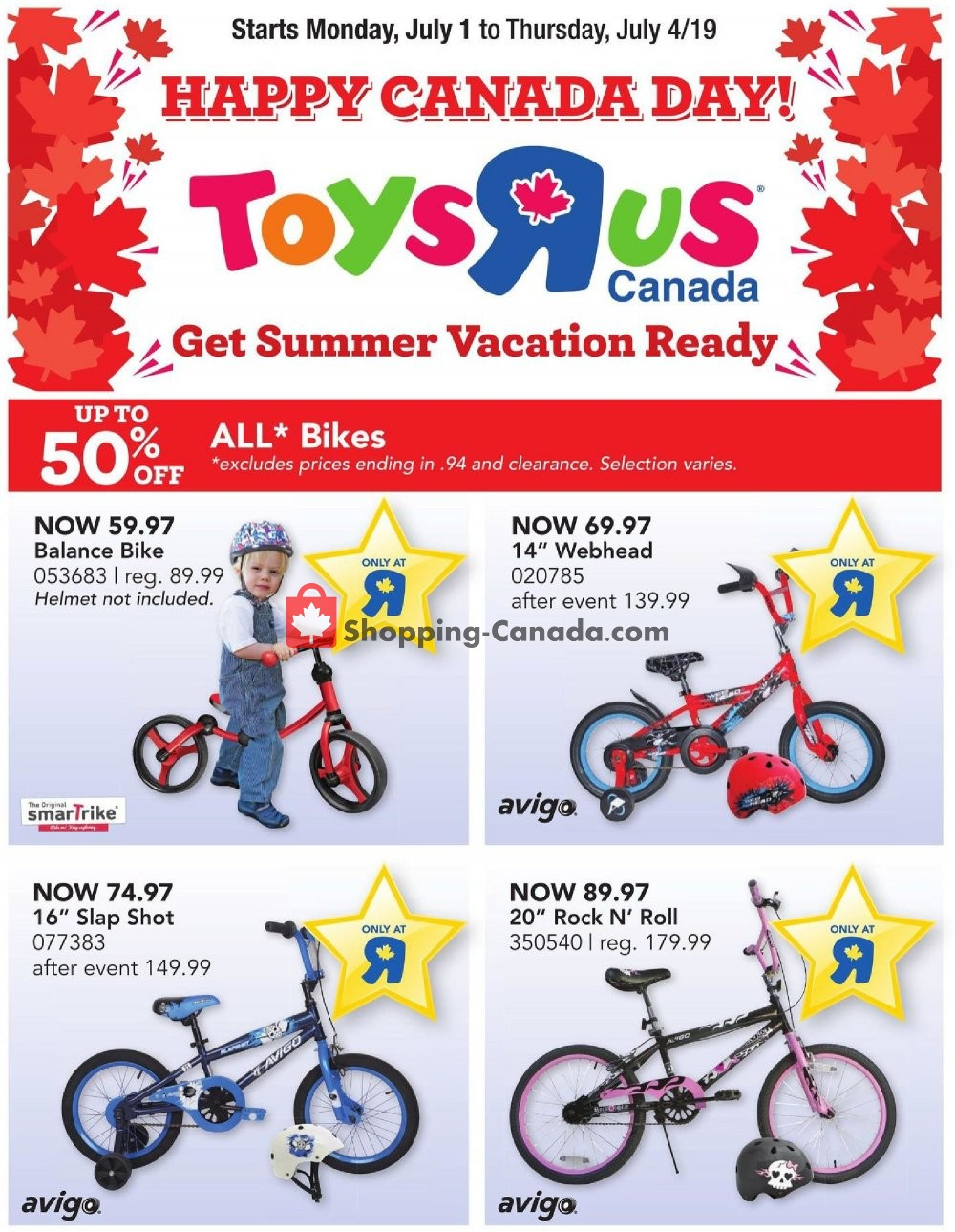 Flyer Toys R Us / Babies R Us Canada - from Monday July 1, 2019 to Thursday July 4, 2019