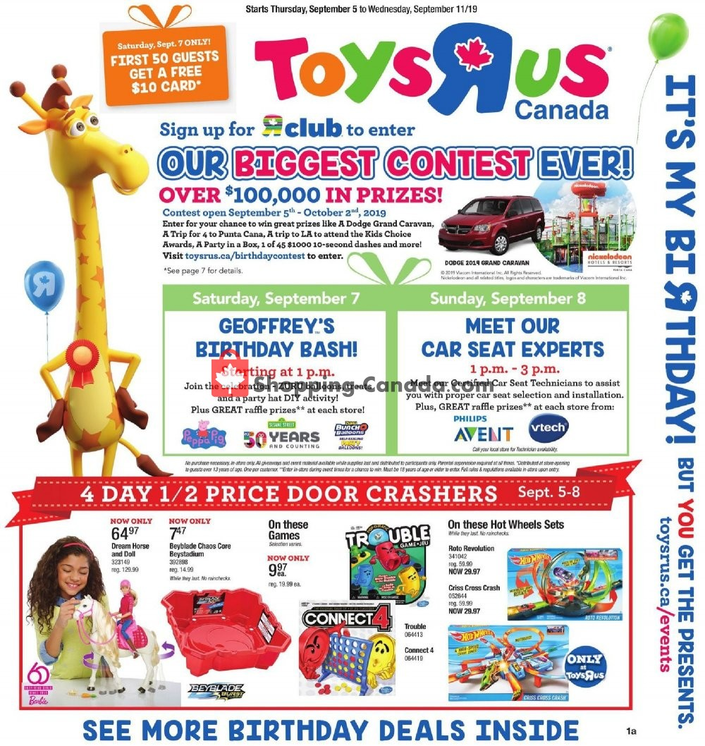 Flyer Toys R Us / Babies R Us Canada - from Thursday September 5, 2019 to Wednesday September 11, 2019