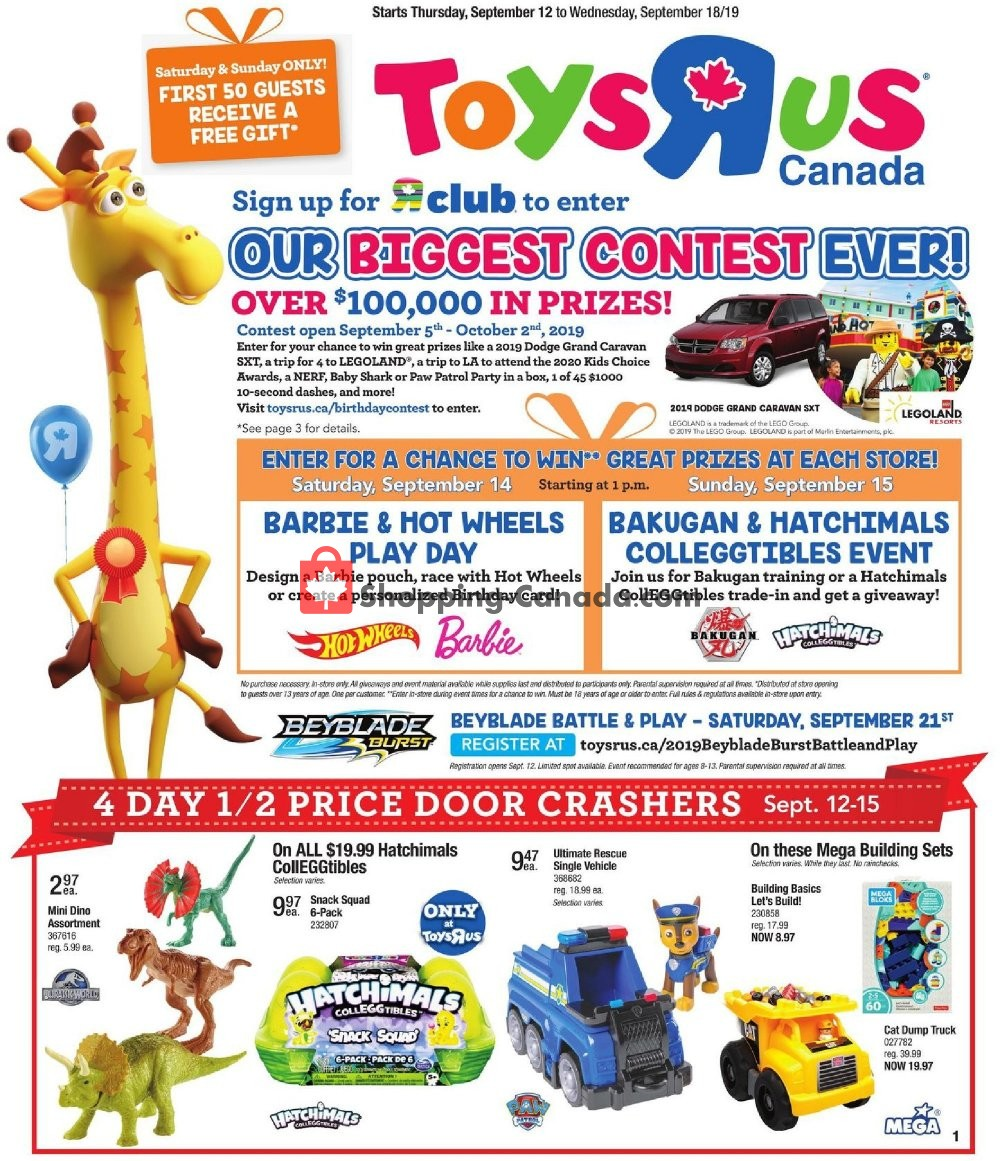 Flyer Toys R Us / Babies R Us Canada - from Thursday September 12, 2019 to Wednesday September 18, 2019