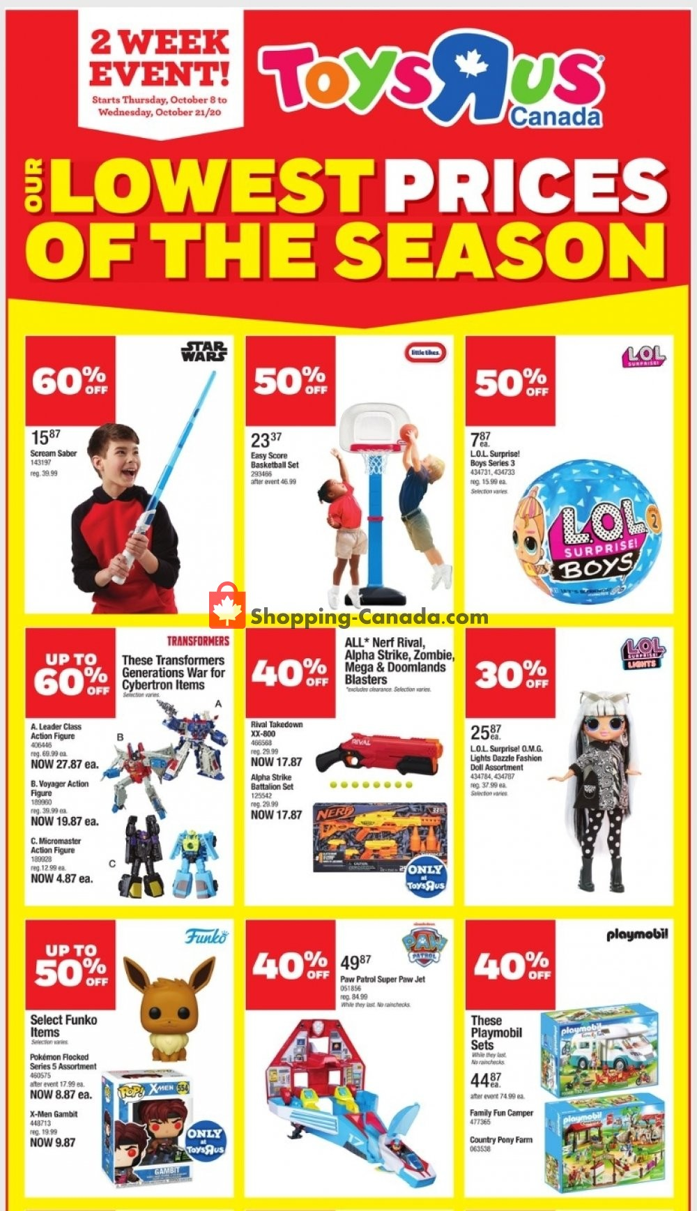 Flyer Toys R Us / Babies R Us Canada - from Thursday October 8, 2020 to Wednesday October 21, 2020