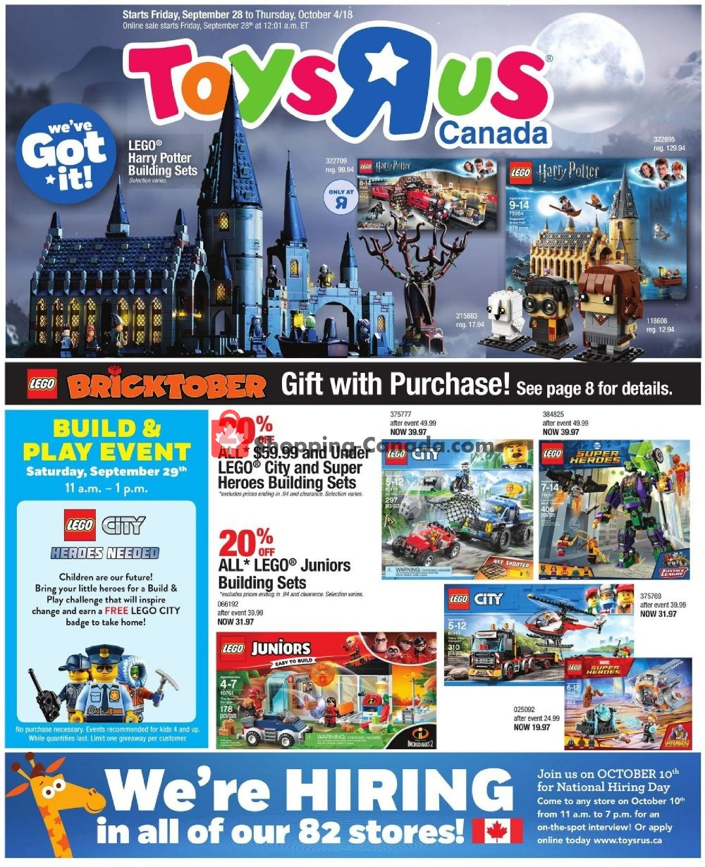 Flyer Toys R Us / Babies R Us Canada - from Friday September 28, 2018 to Thursday October 4, 2018
