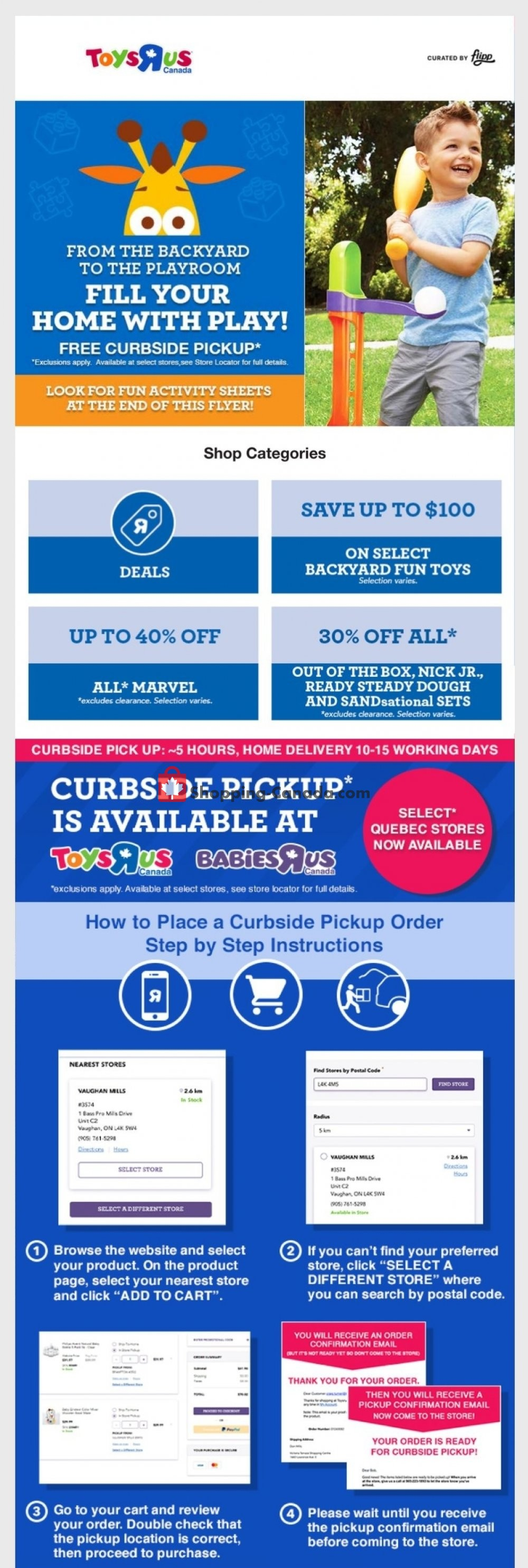 Flyer Toys R Us / Babies R Us Canada - from Thursday May 28, 2020 to Thursday June 4, 2020