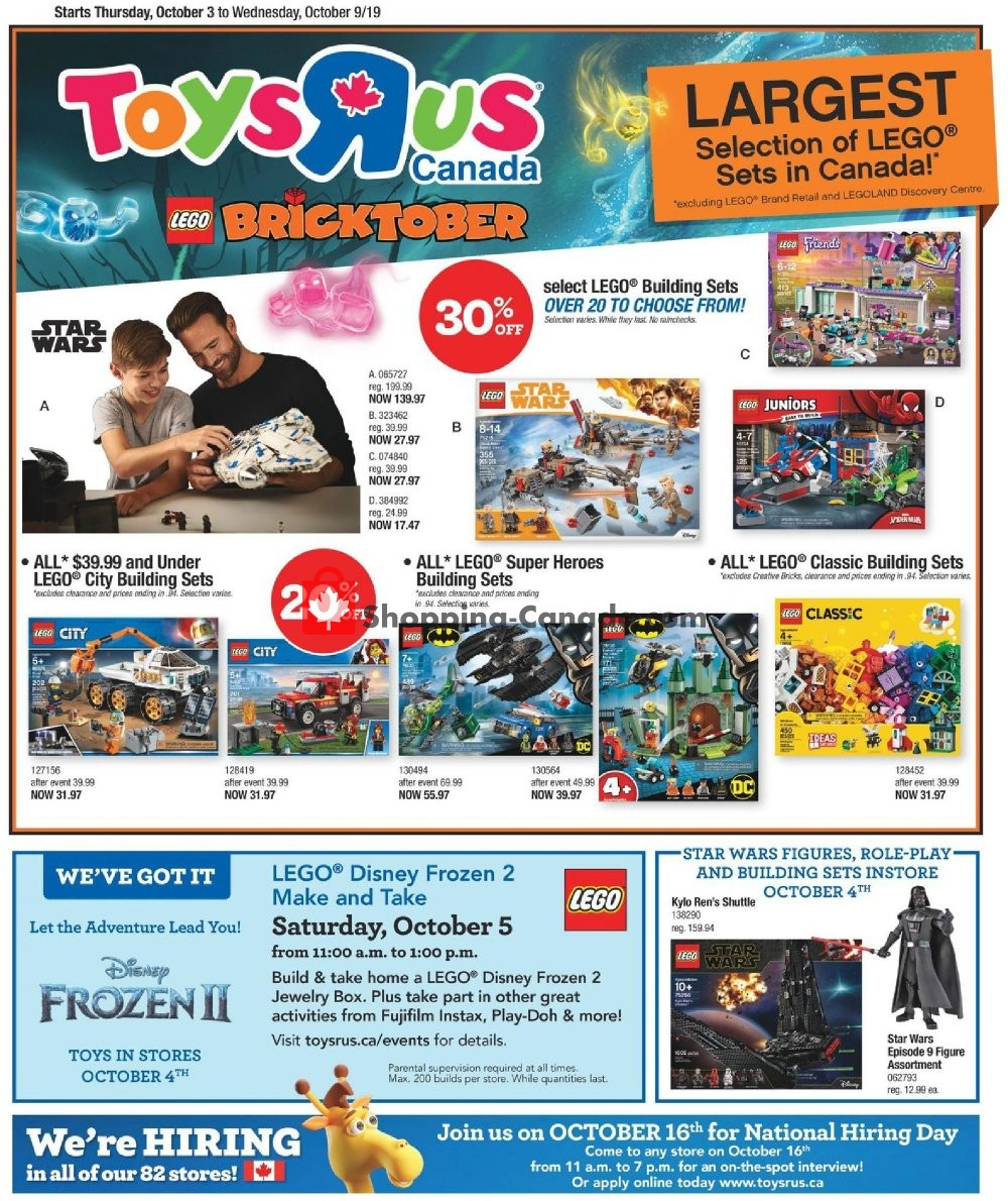 Flyer Toys R Us / Babies R Us Canada - from Thursday October 3, 2019 to Wednesday October 9, 2019