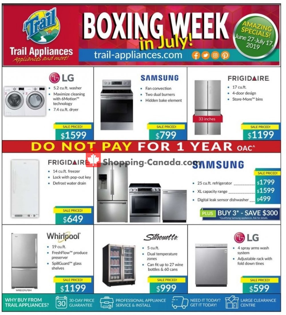 Flyer Trail Appliances Canada - from Thursday June 27, 2019 to Wednesday July 17, 2019
