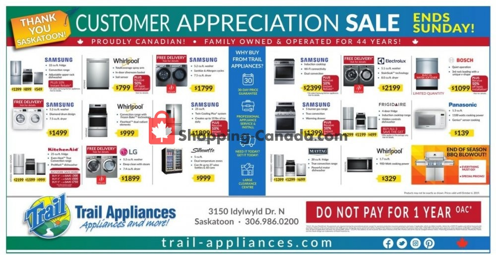 Flyer Trail Appliances Canada - from Thursday October 3, 2019 to Sunday October 6, 2019
