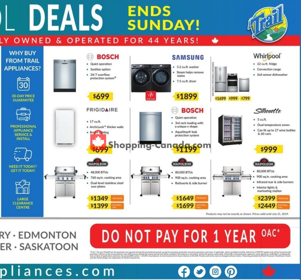 Flyer Trail Appliances Canada - from Thursday July 18, 2019 to Sunday July 21, 2019