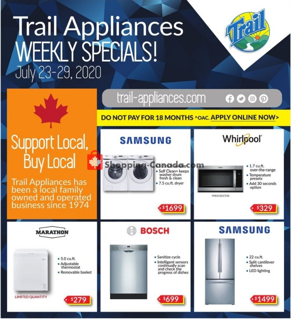 Flyer Trail Appliances Canada - from Thursday July 23, 2020 to Wednesday July 29, 2020