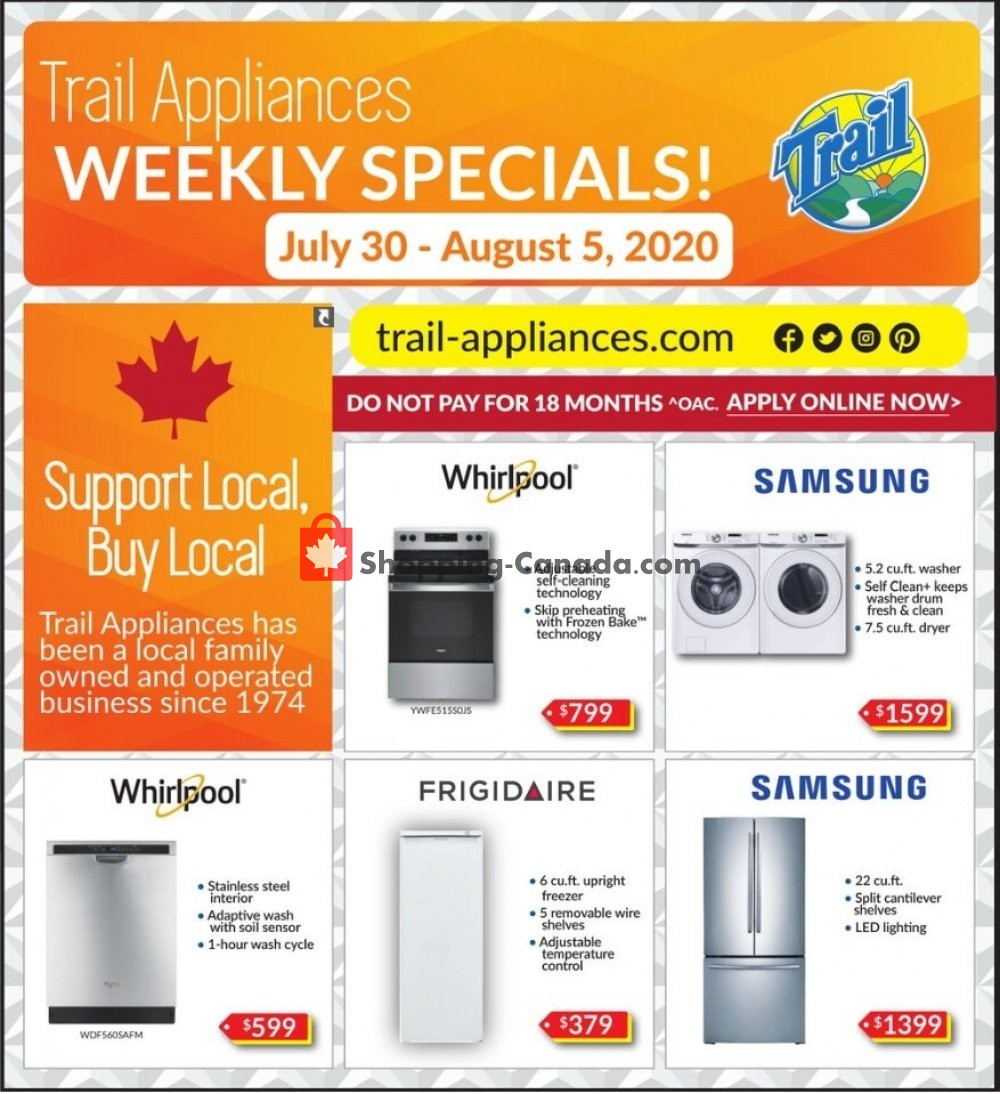 Flyer Trail Appliances Canada - from Thursday July 30, 2020 to Wednesday August 5, 2020