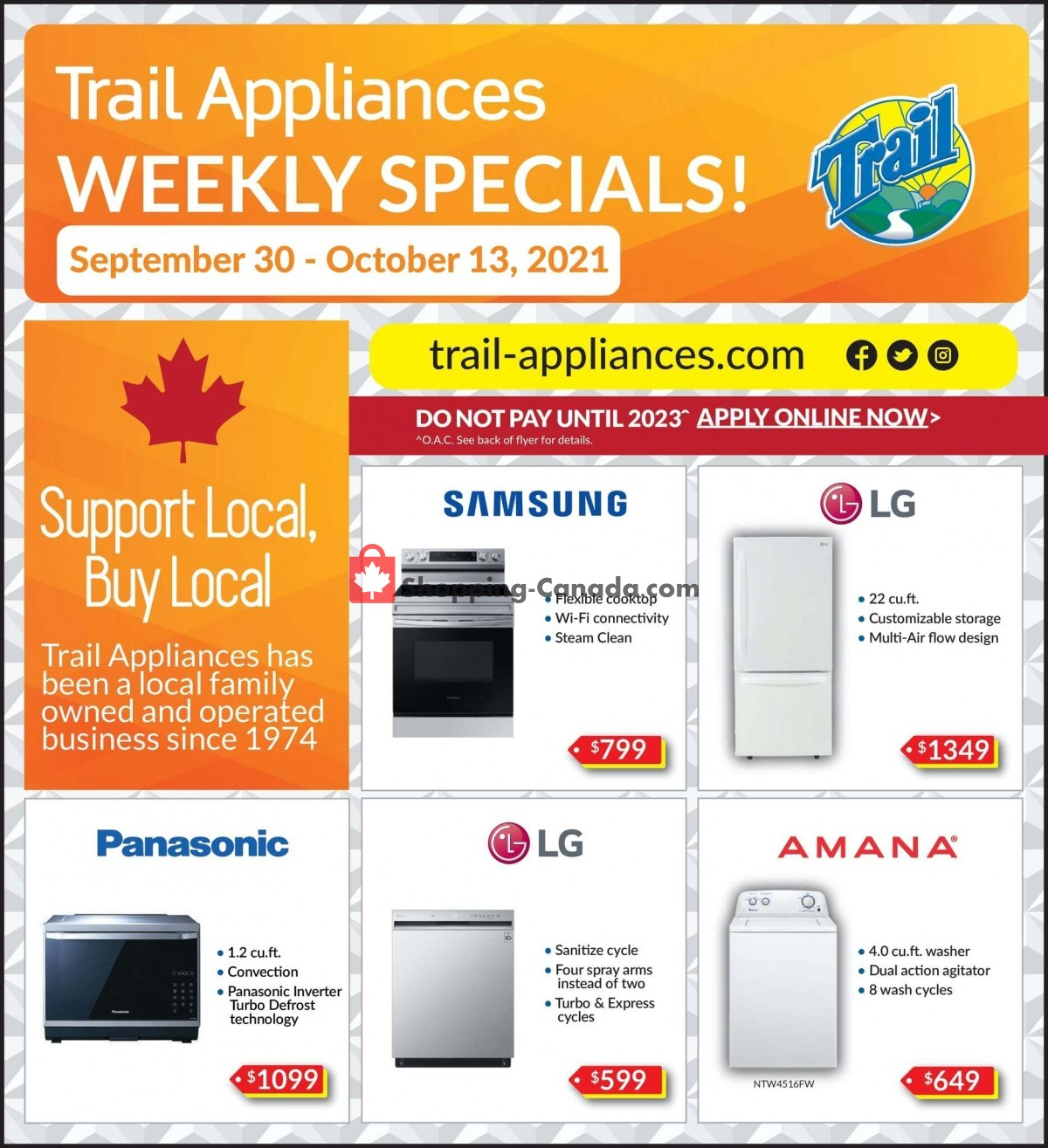 Flyer Trail Appliances Canada - from Thursday September 30, 2021 to Wednesday October 13, 2021