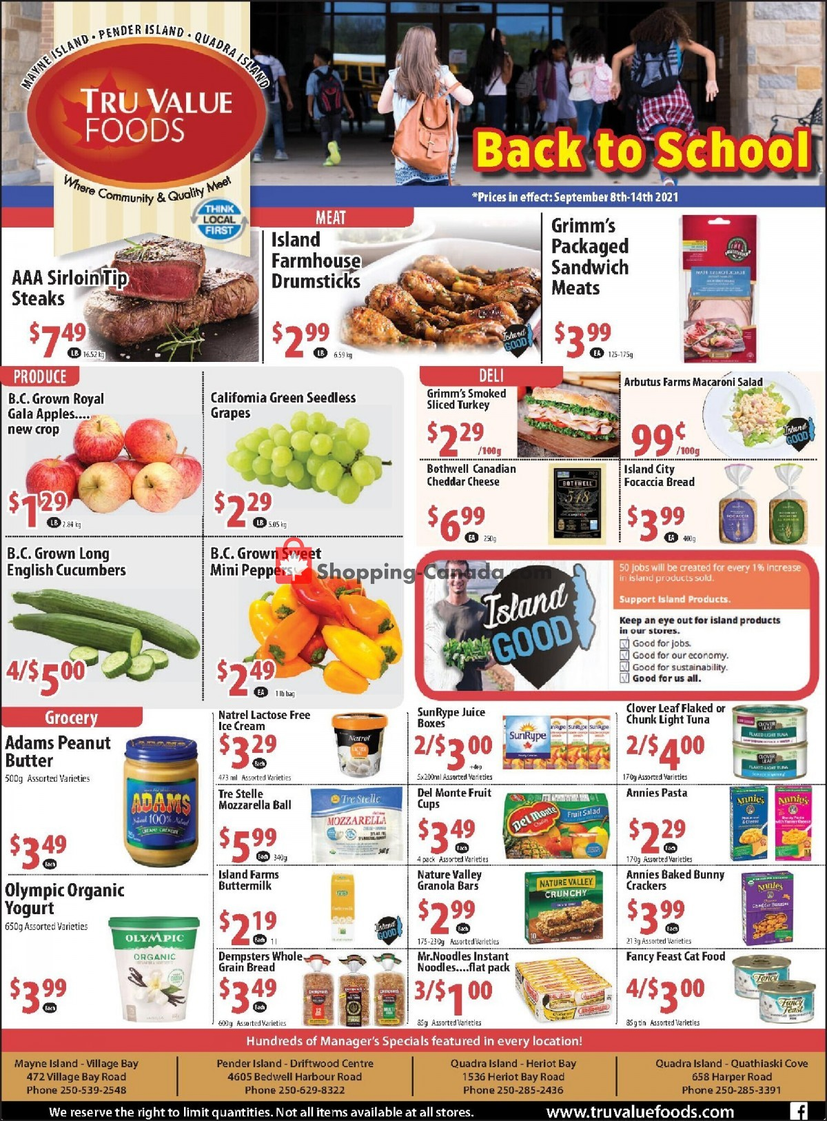 Flyer Tru Value Foods Canada - from Wednesday September 8, 2021 to Tuesday September 14, 2021
