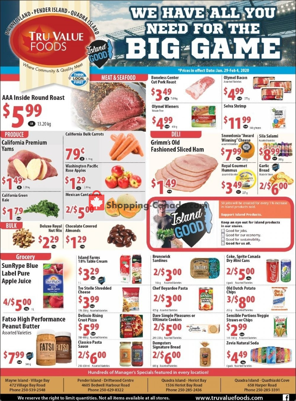 Flyer Tru Value Foods Canada - from Wednesday January 29, 2020 to Tuesday February 4, 2020