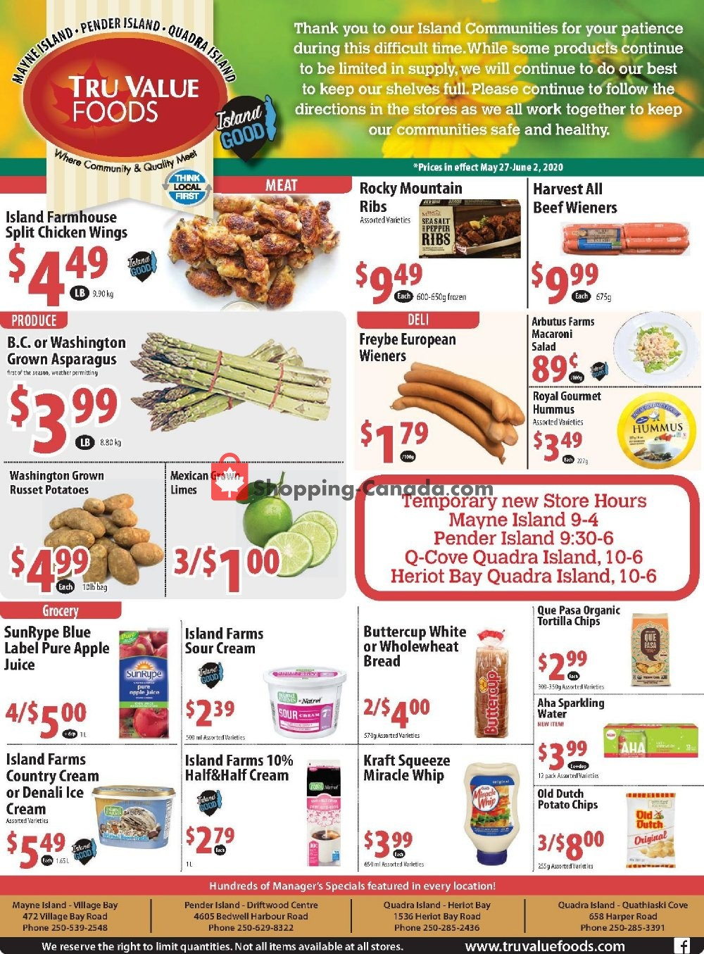 Flyer Tru Value Foods Canada - from Wednesday May 27, 2020 to Tuesday June 2, 2020
