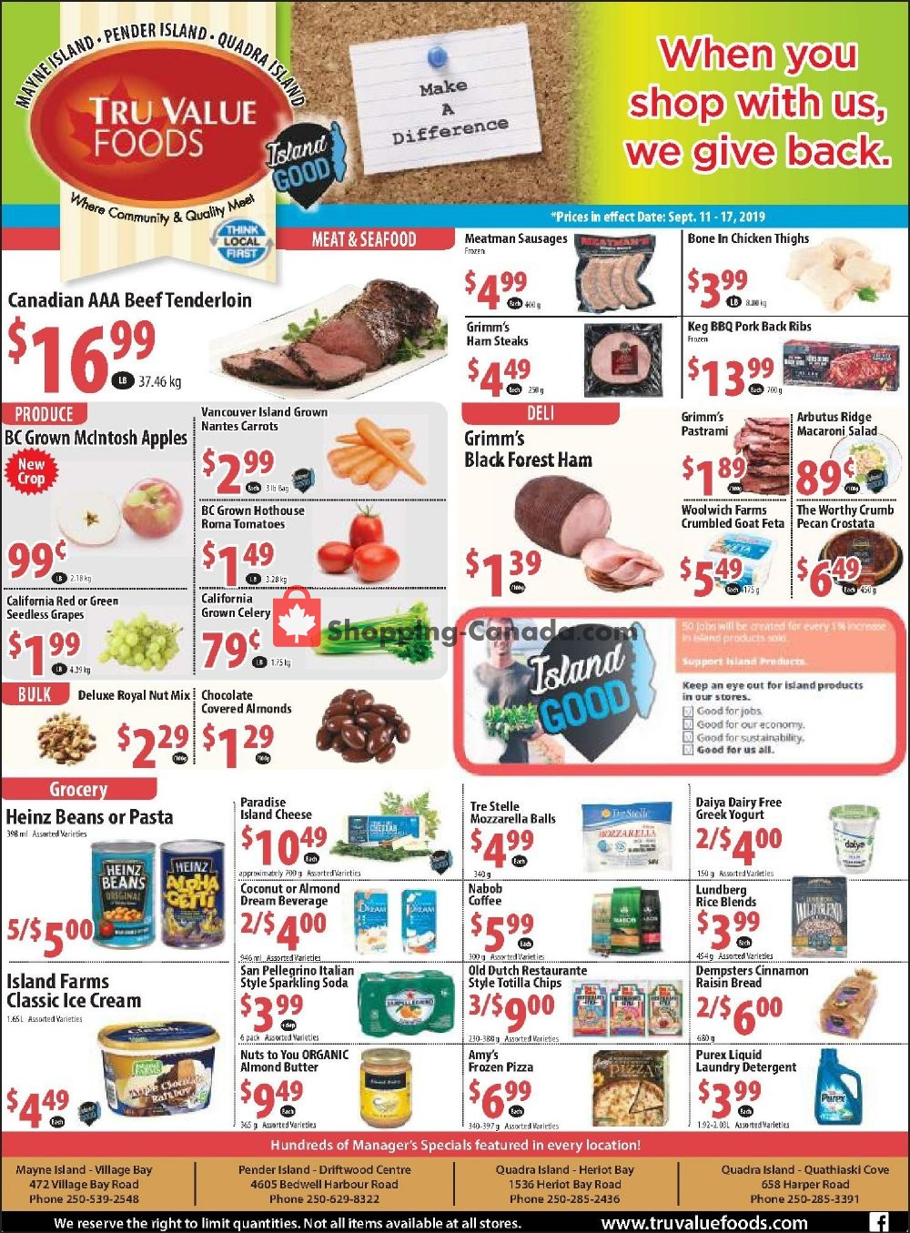 Flyer Tru Value Foods Canada - from Wednesday September 11, 2019 to Tuesday September 17, 2019