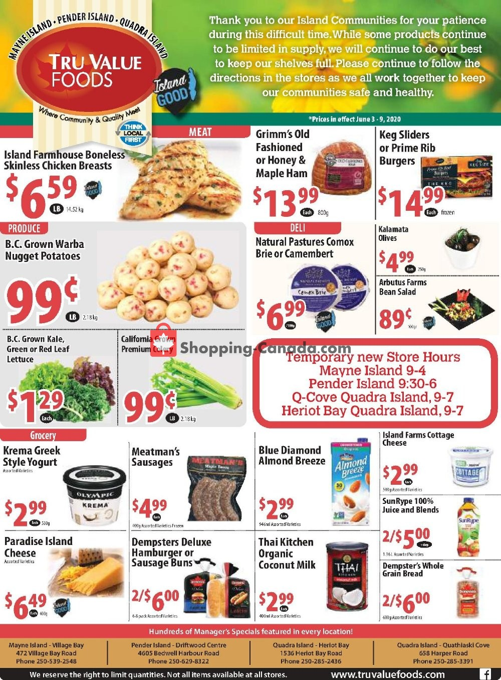 Flyer Tru Value Foods Canada - from Wednesday June 3, 2020 to Tuesday June 9, 2020
