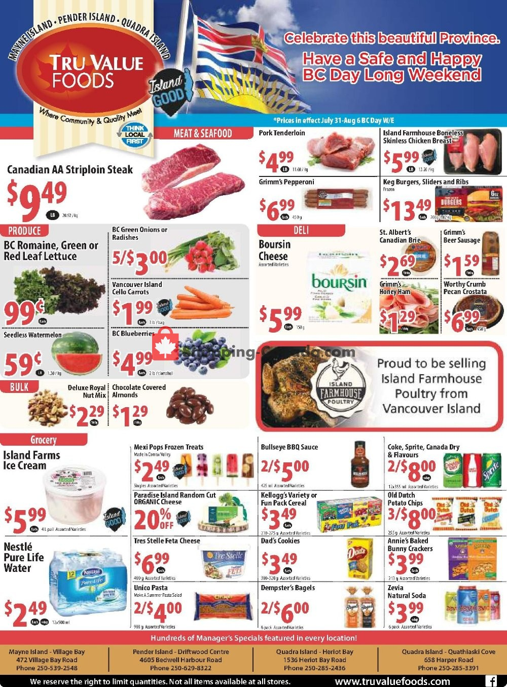 Flyer Tru Value Foods Canada - from Wednesday July 31, 2019 to Tuesday August 6, 2019