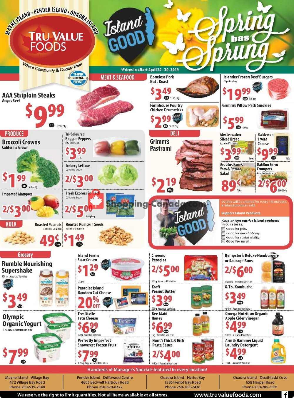 Flyer Tru Value Foods Canada - from Wednesday April 24, 2019 to Tuesday April 30, 2019