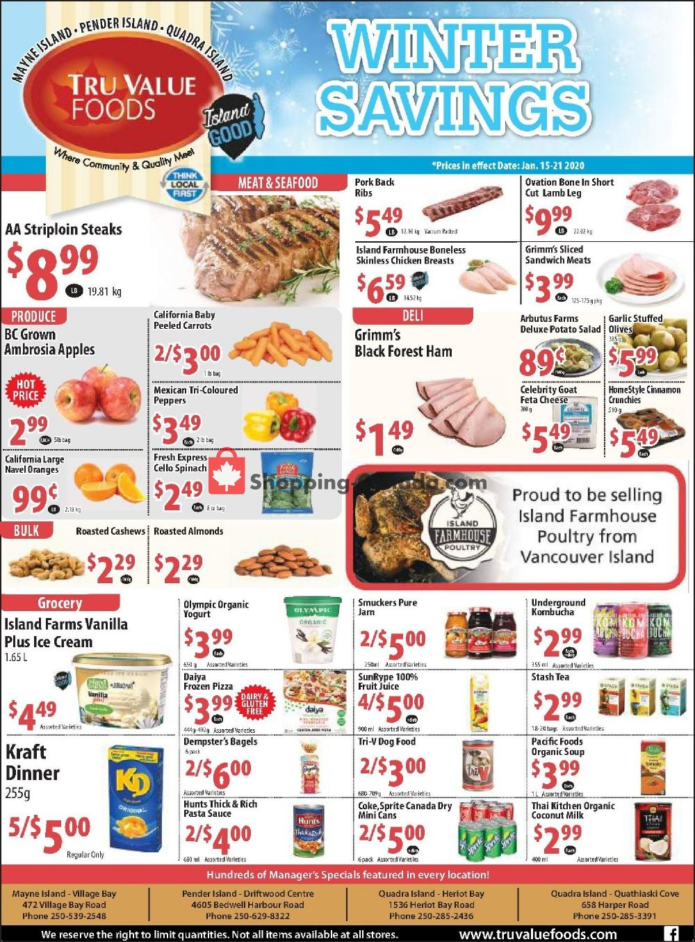 Flyer Tru Value Foods Canada - from Wednesday January 15, 2020 to Tuesday January 21, 2020