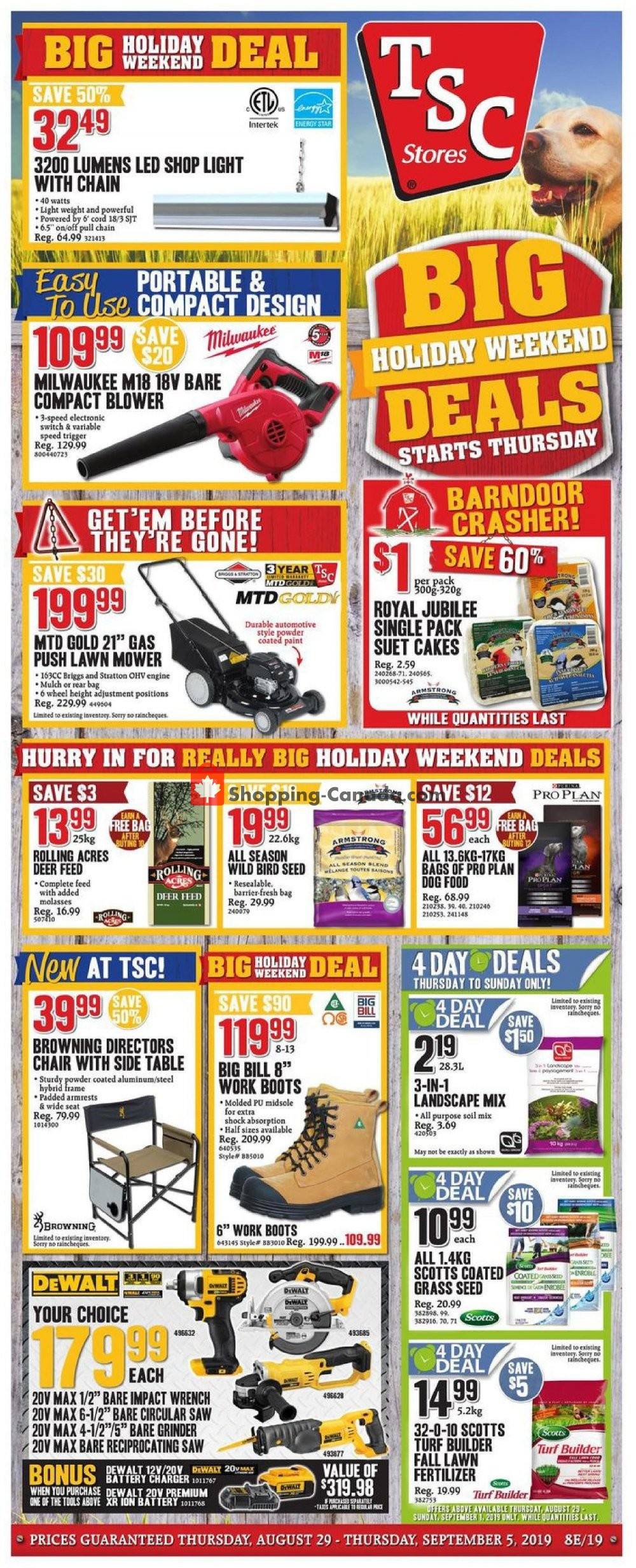 Flyer TSC Stores Canada - from Thursday August 29, 2019 to Thursday September 5, 2019