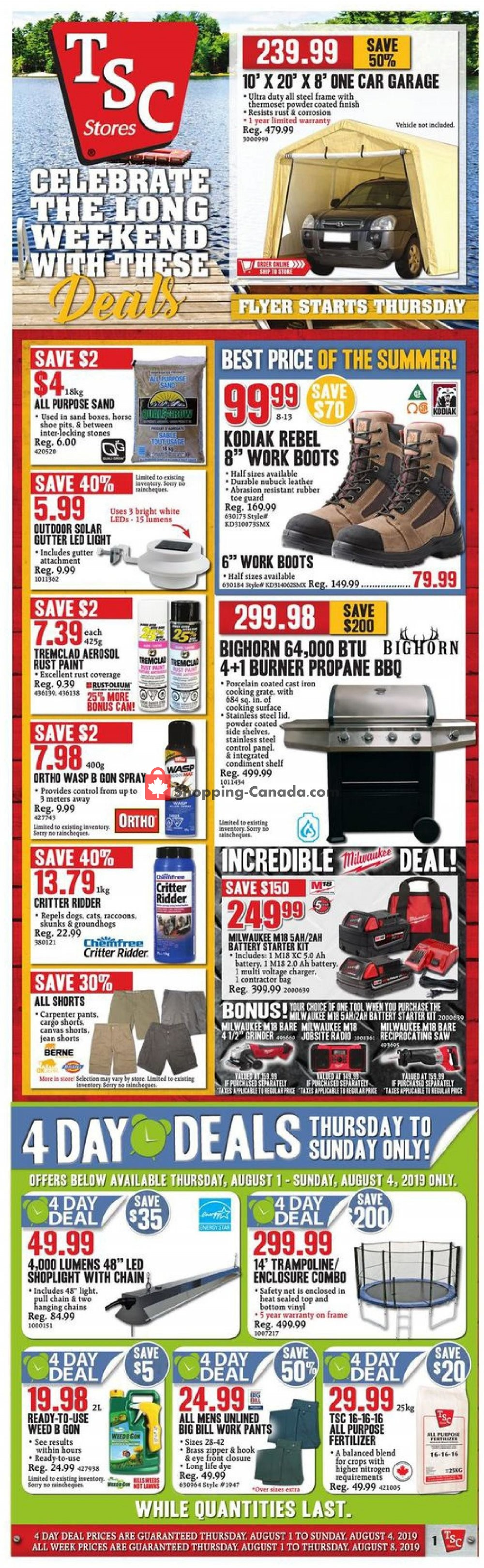 Flyer TSC Stores Canada - from Thursday August 1, 2019 to Thursday August 8, 2019