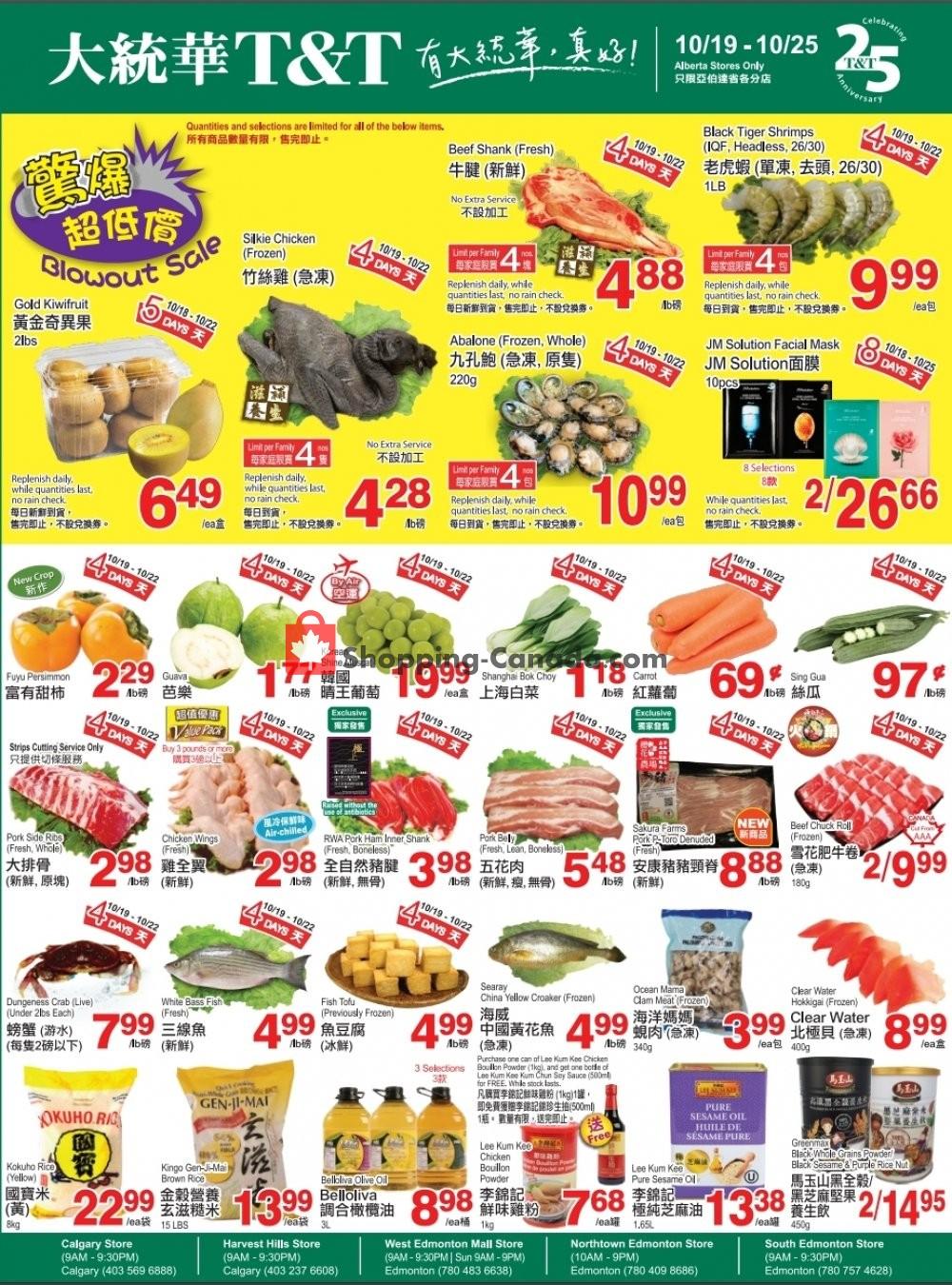 Flyer T&T Supermarket Canada - from Friday October 19, 2018 to Thursday October 25, 2018