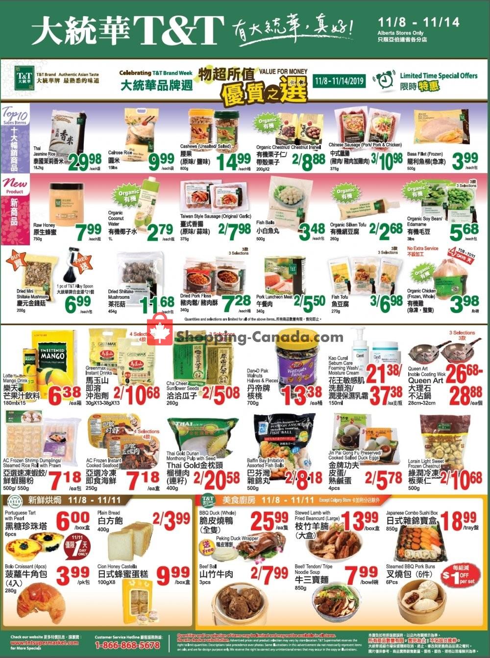 Flyer T&T Supermarket Canada - from Friday November 8, 2019 to Thursday November 14, 2019