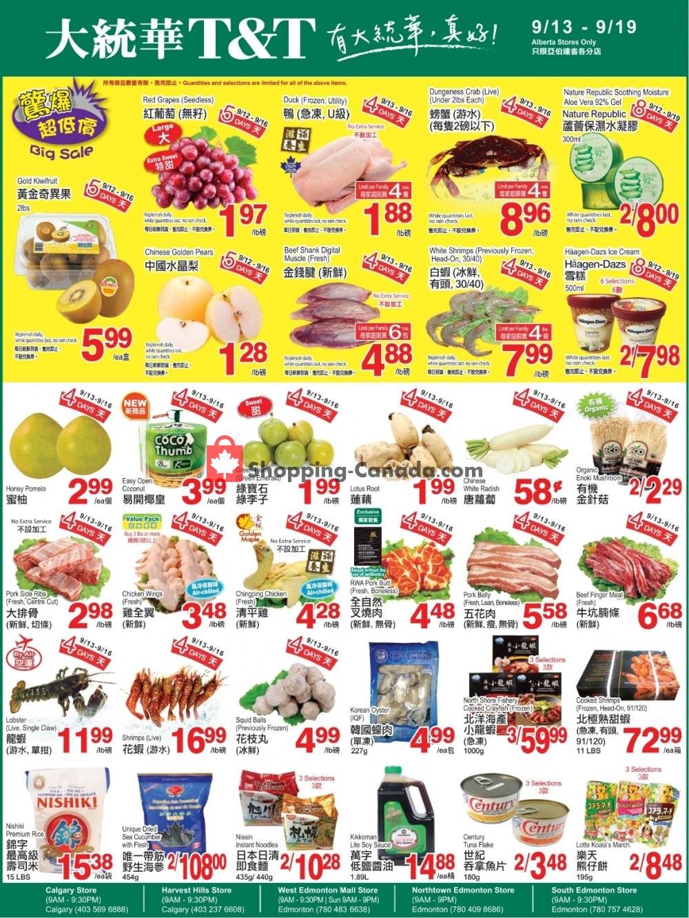 Flyer T&T Supermarket Canada - from Friday September 13, 2019 to Thursday September 19, 2019