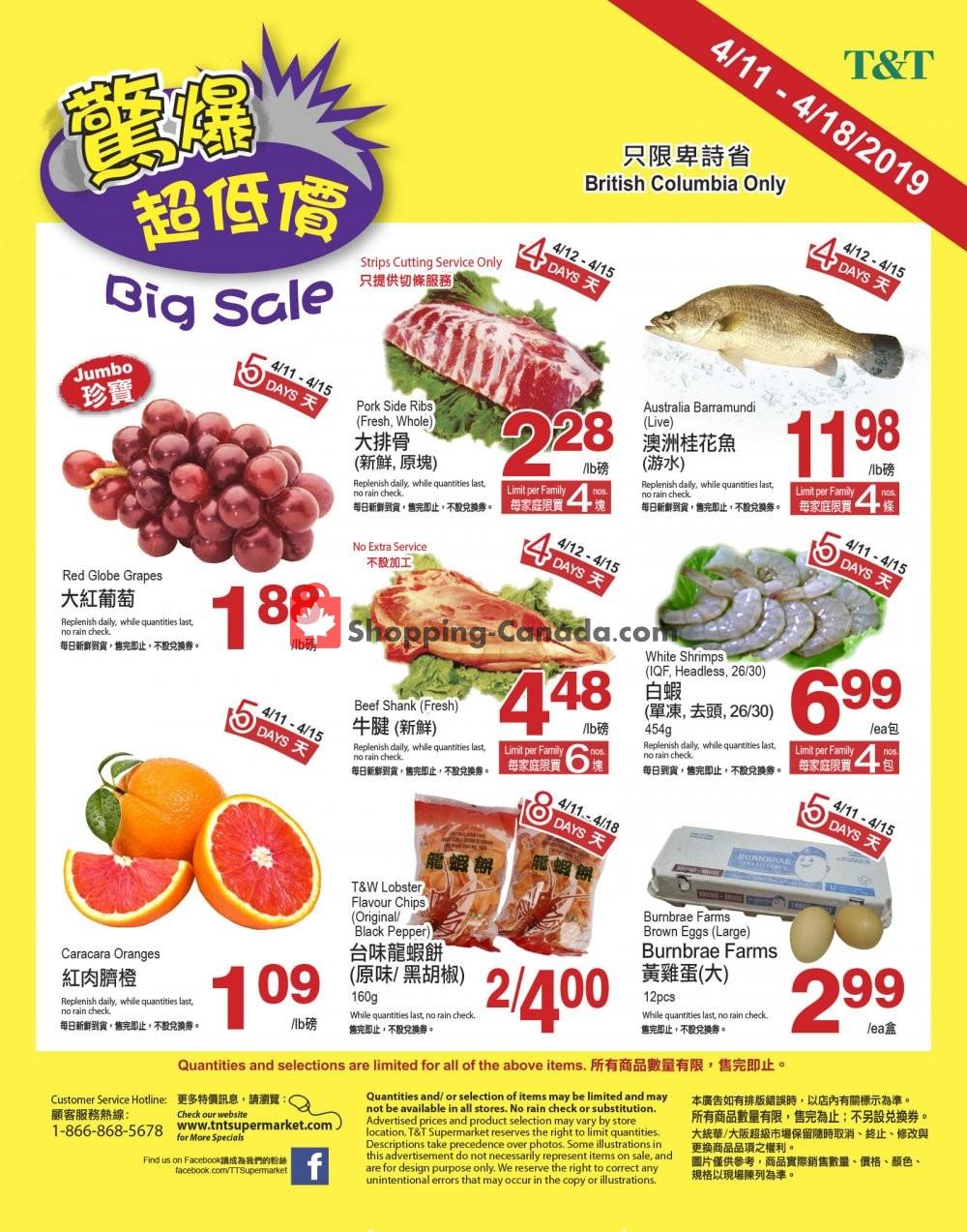 Flyer T&T Supermarket Canada - from Thursday April 11, 2019 to Thursday April 18, 2019