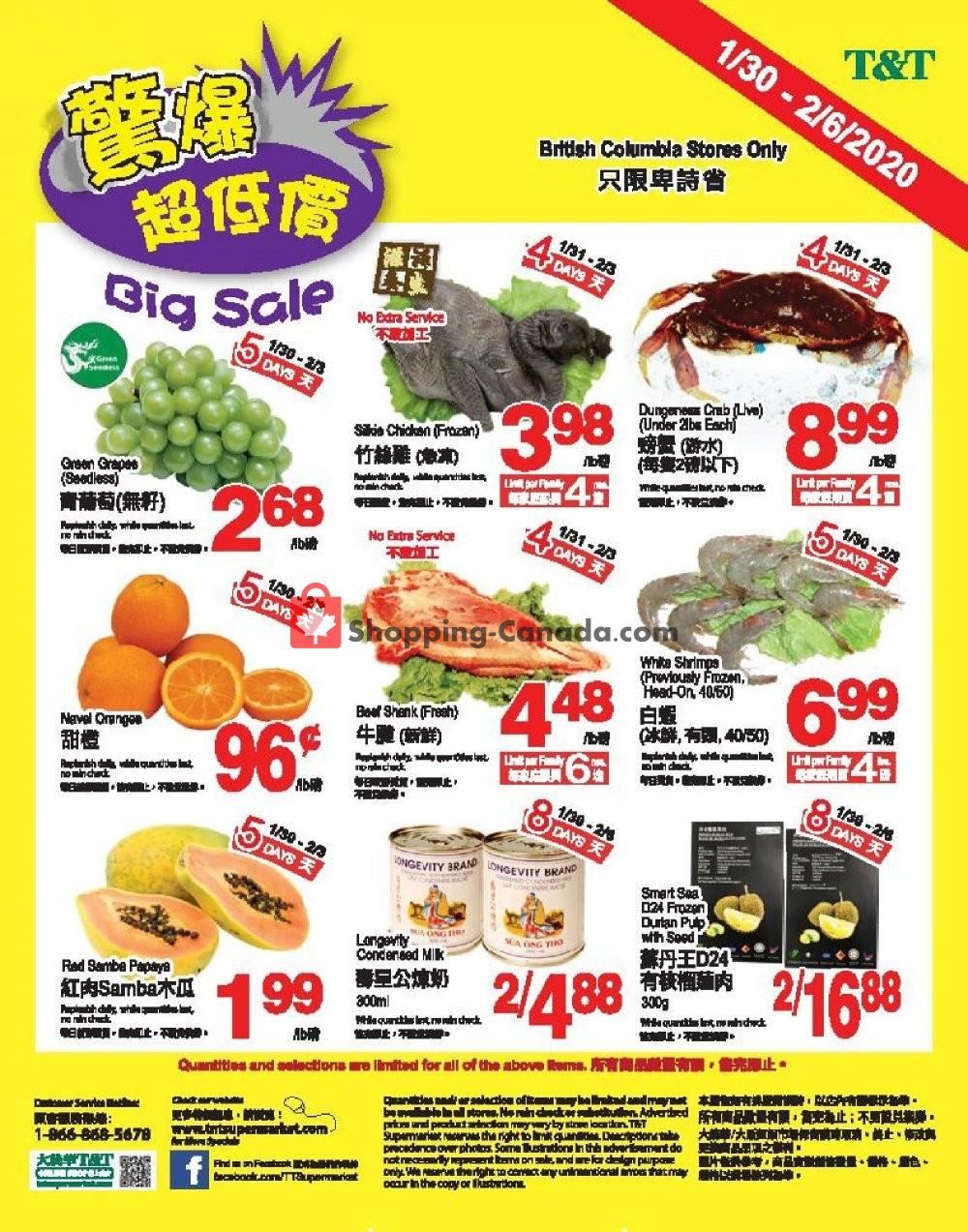 Flyer T&T Supermarket Canada - from Thursday January 30, 2020 to Thursday February 6, 2020