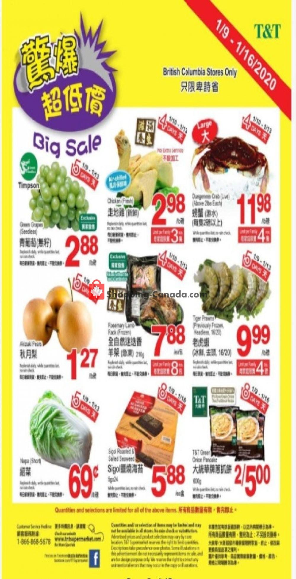 Flyer T&T Supermarket Canada - from Thursday January 9, 2020 to Thursday January 16, 2020