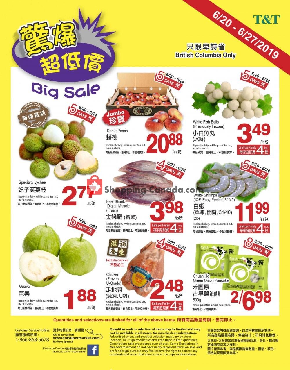 Flyer T&T Supermarket Canada - from Thursday June 20, 2019 to Thursday June 27, 2019