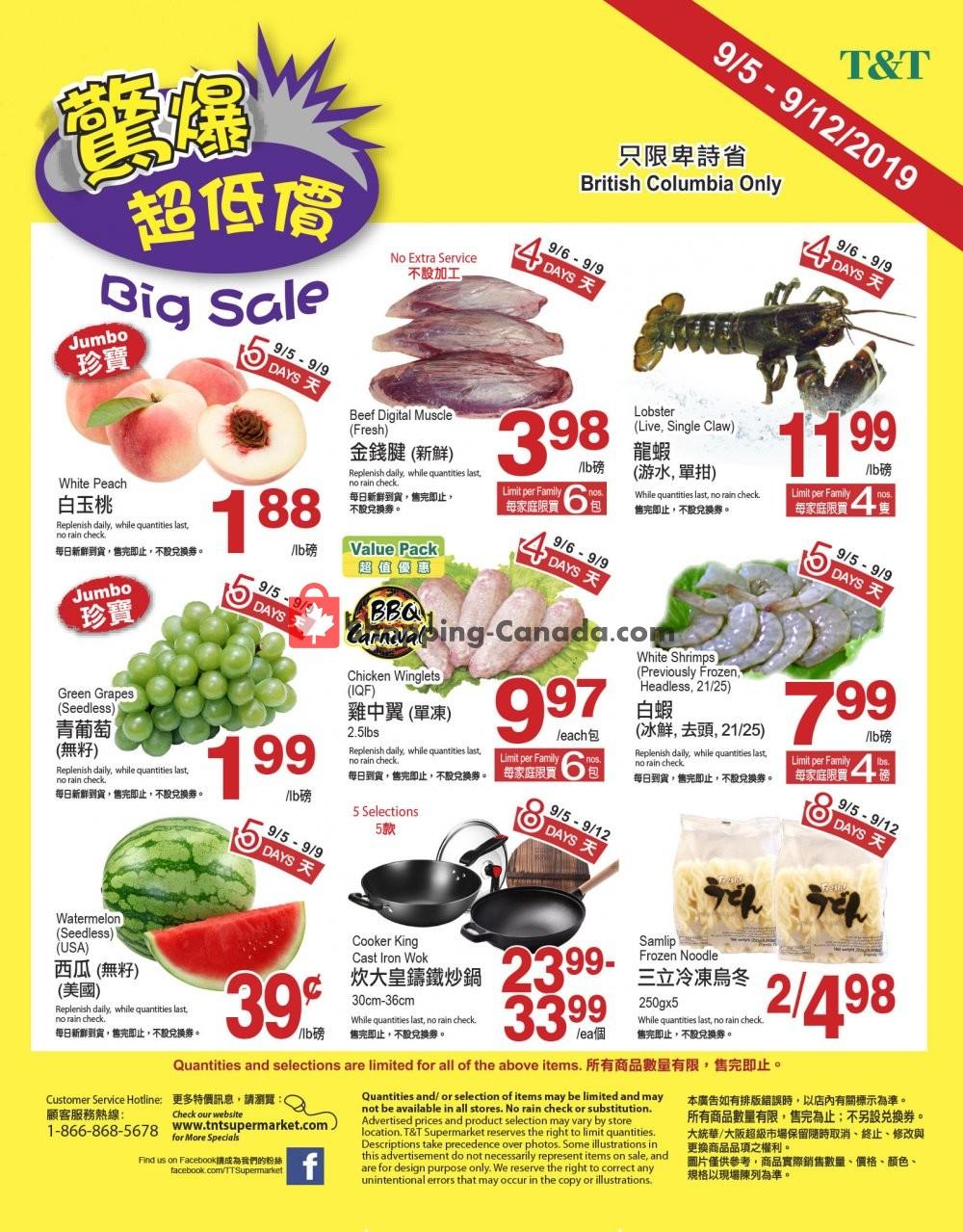 Flyer T&T Supermarket Canada - from Thursday September 5, 2019 to Thursday September 12, 2019