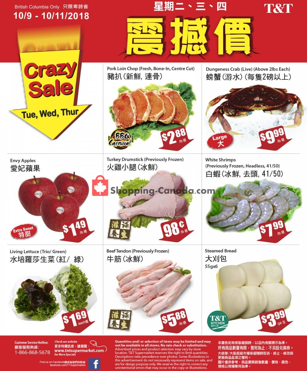 Flyer T&T Supermarket Canada - from Tuesday October 9, 2018 to Thursday October 11, 2018