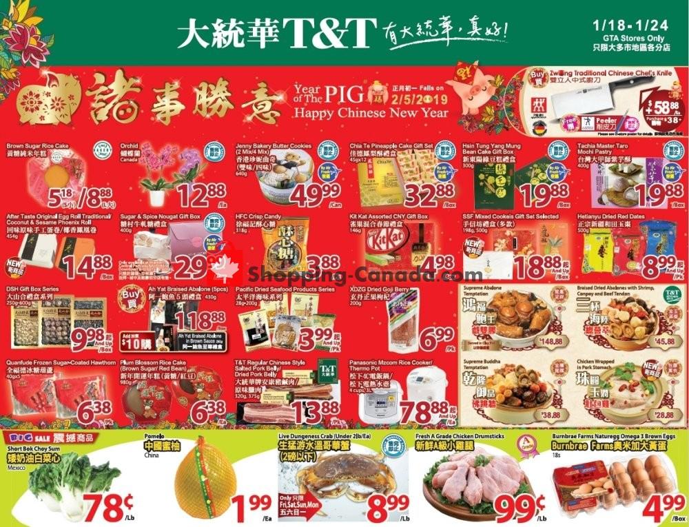 Flyer T&T Supermarket Canada - from Friday January 18, 2019 to Thursday January 24, 2019