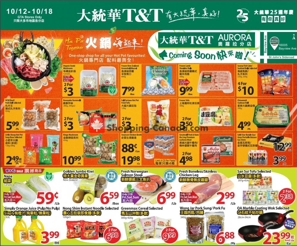 Flyer T&T Supermarket Canada - from Friday October 12, 2018 to Thursday October 18, 2018