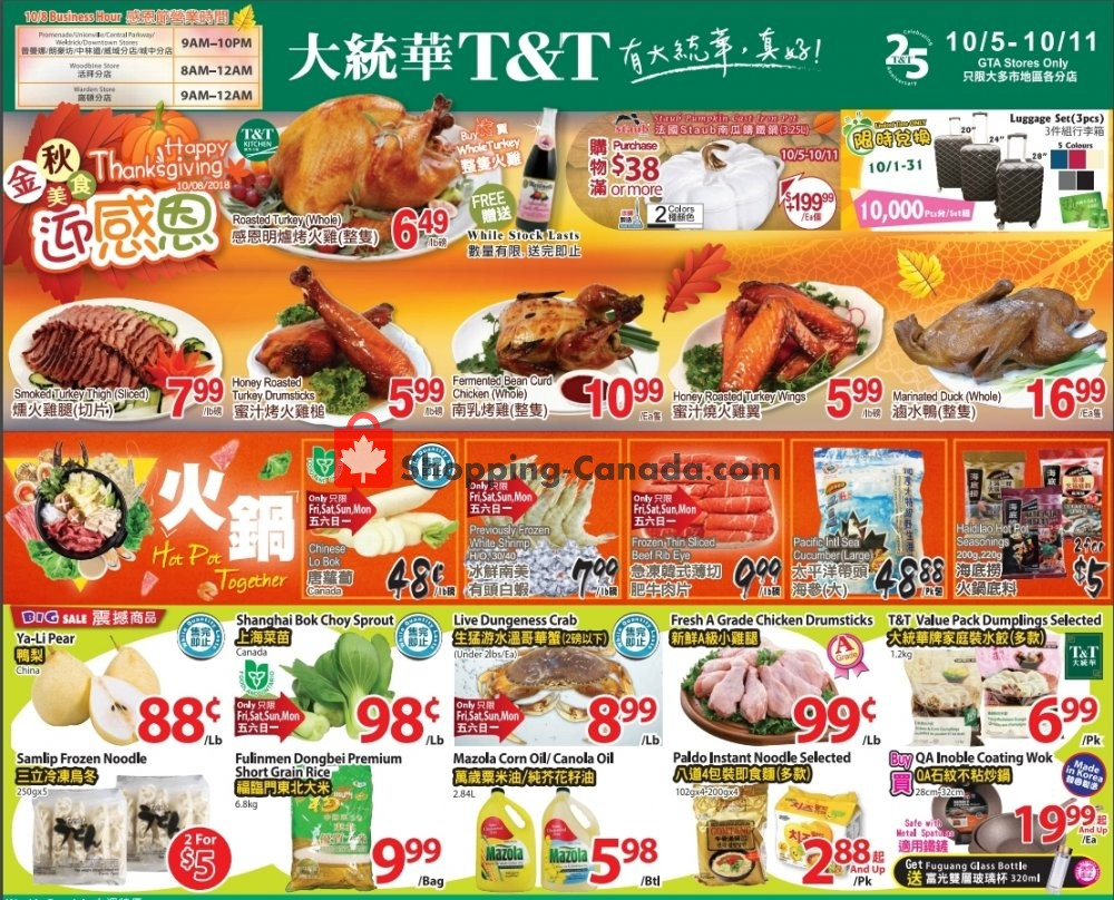 Flyer T&T Supermarket Canada - from Friday October 5, 2018 to Thursday October 11, 2018