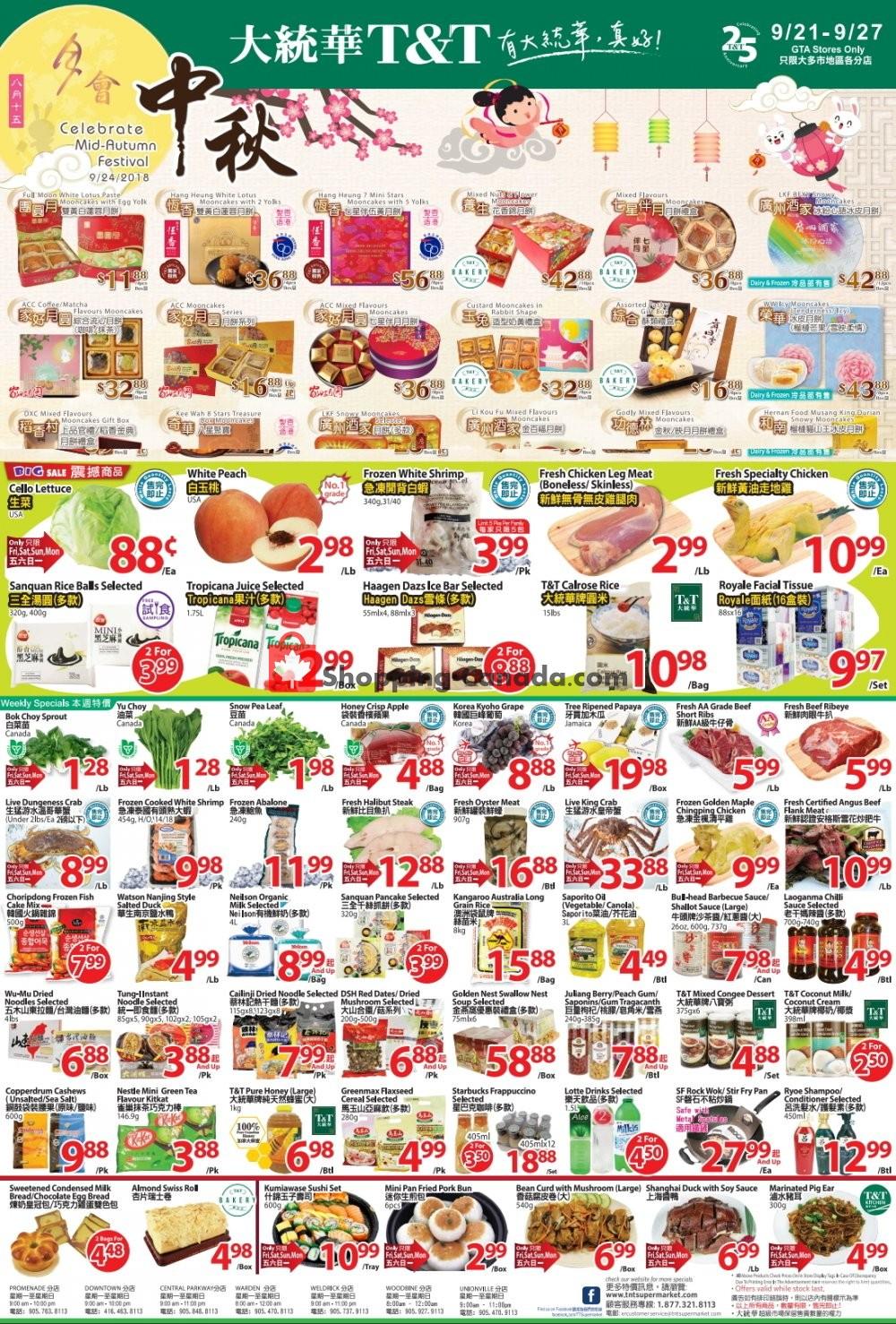 Flyer T&T Supermarket Canada - from Friday September 21, 2018 to Thursday September 27, 2018
