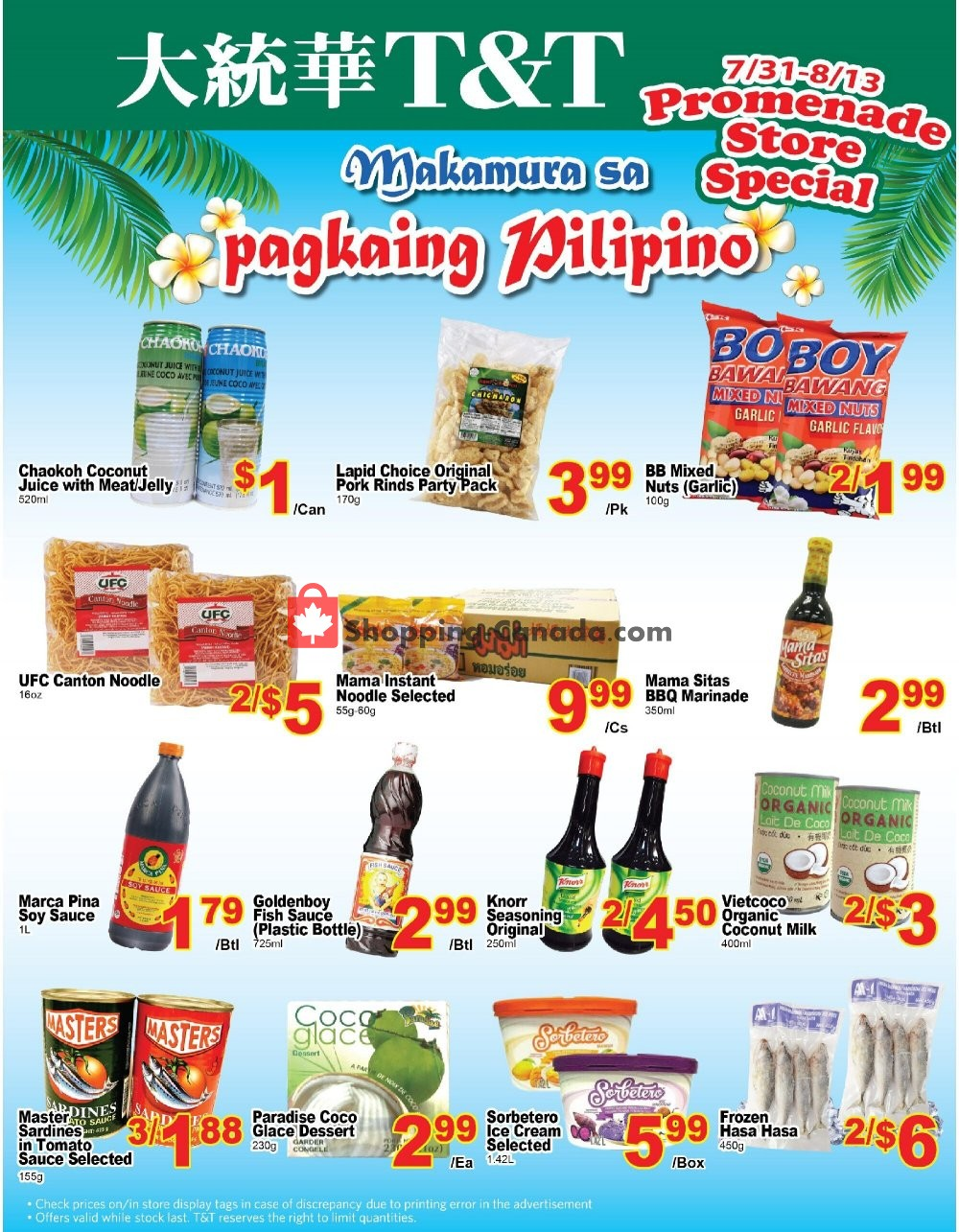 Flyer T&T Supermarket Canada - from Friday July 31, 2020 to Thursday August 13, 2020
