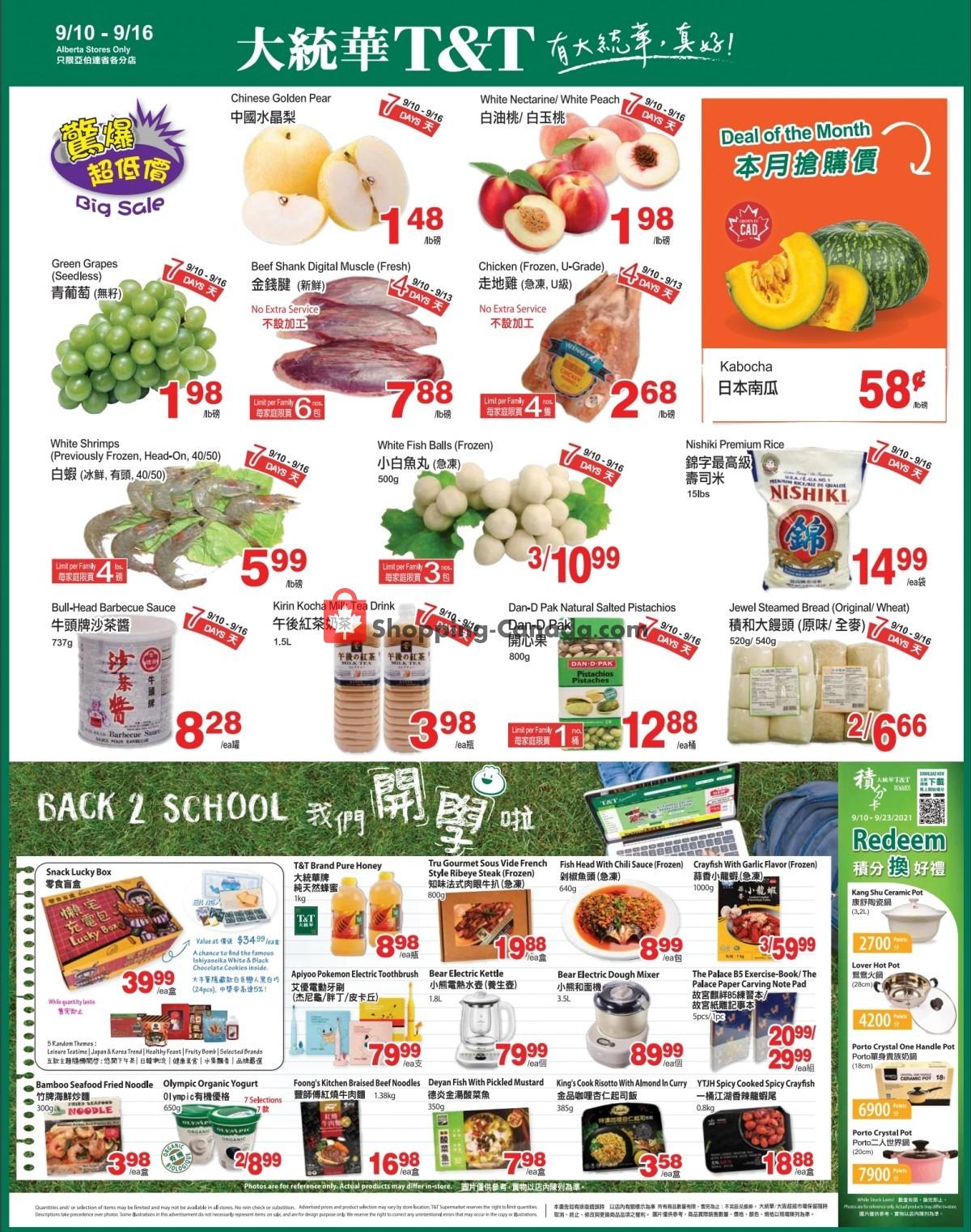 Flyer T&T Supermarket Canada - from Friday September 10, 2021 to Thursday September 16, 2021