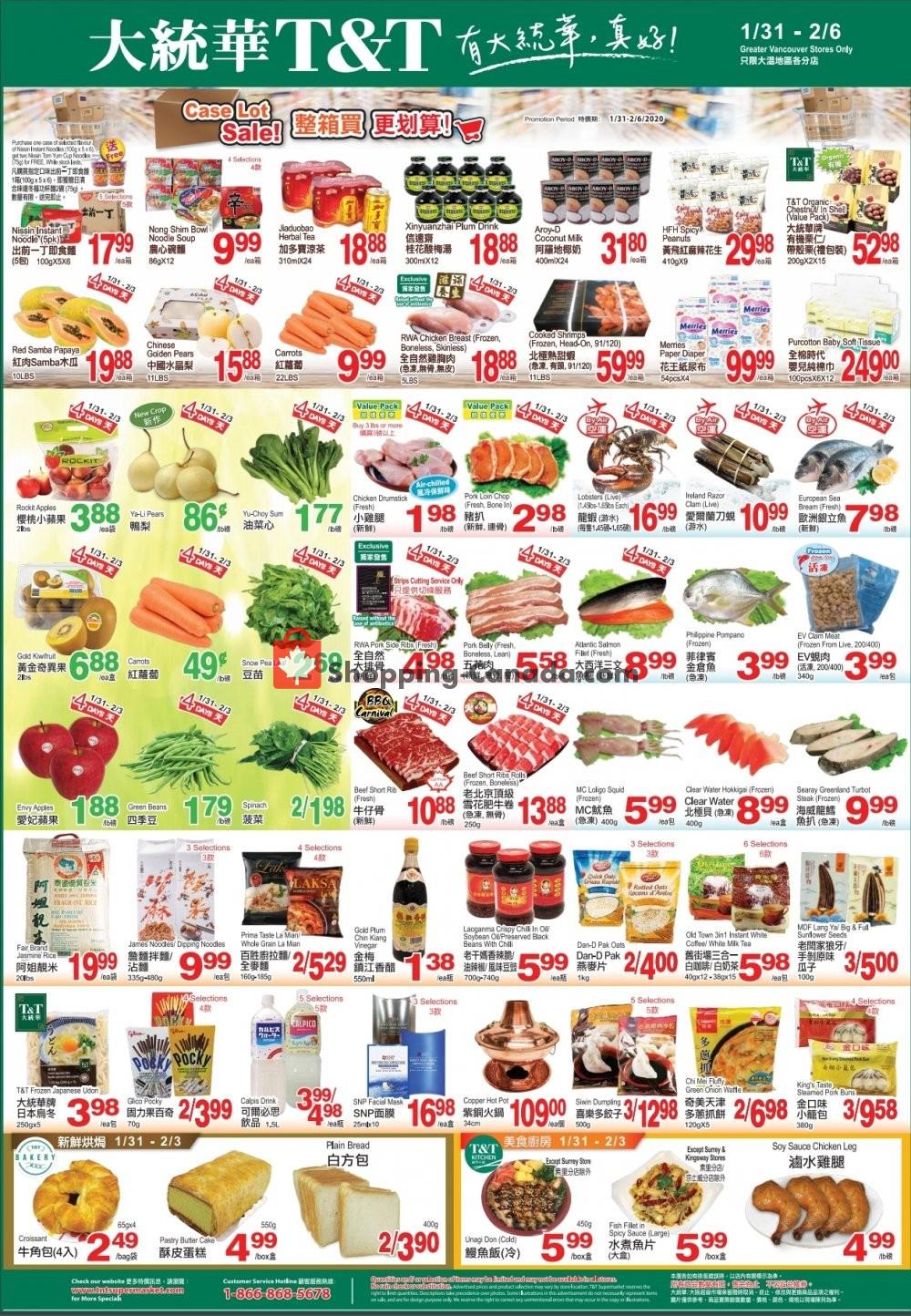 Flyer T&T Supermarket Canada - from Friday January 31, 2020 to Thursday February 6, 2020
