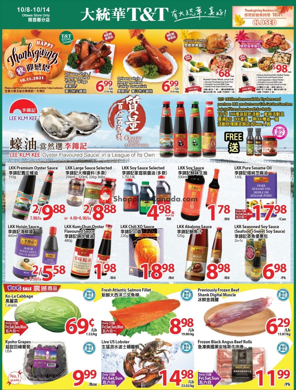 Flyer T&T Supermarket Canada - from Friday October 8, 2021 to Thursday October 14, 2021