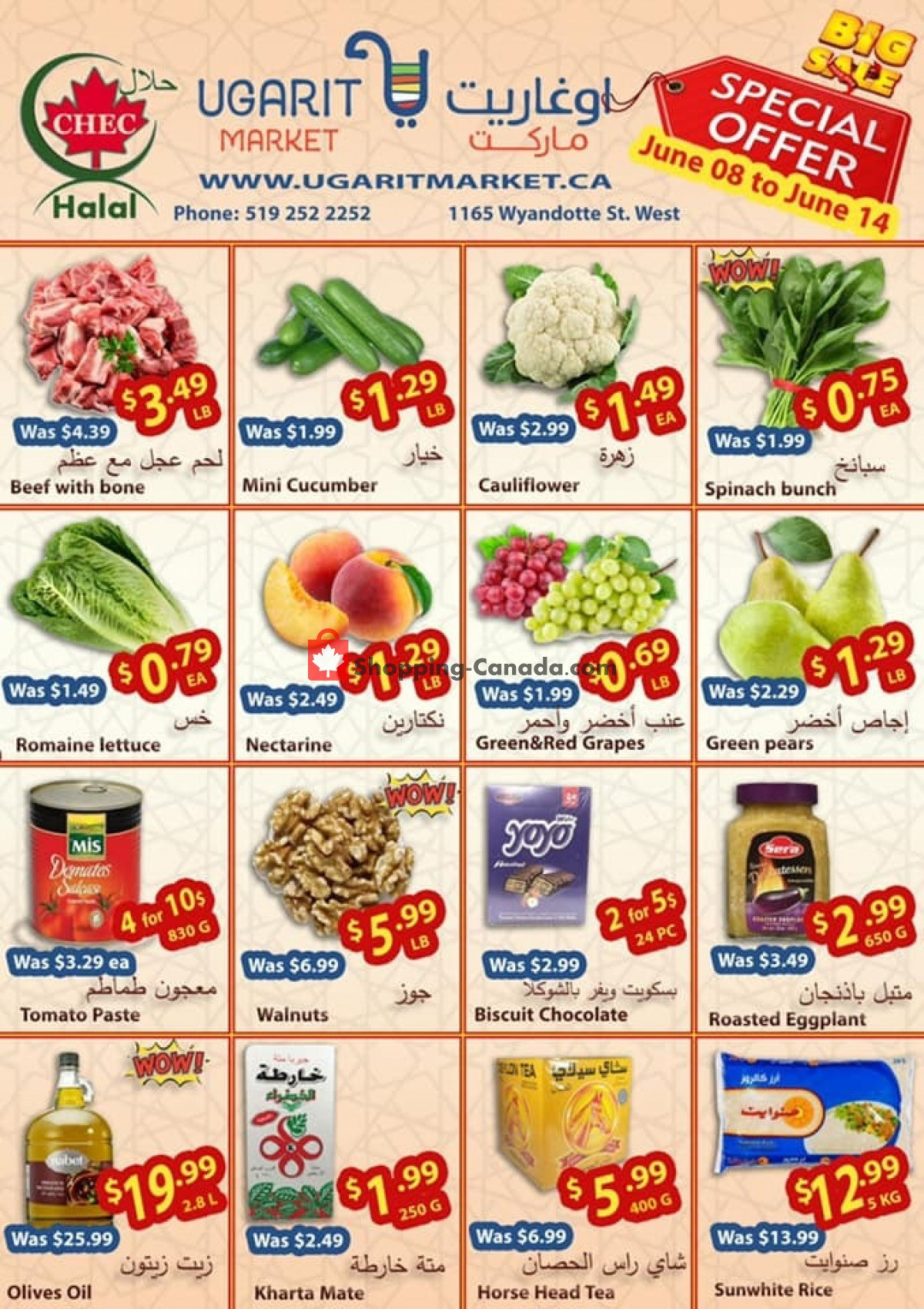 Flyer Ugarit Market Canada - from Tuesday June 8, 2021 to Monday June 14, 2021