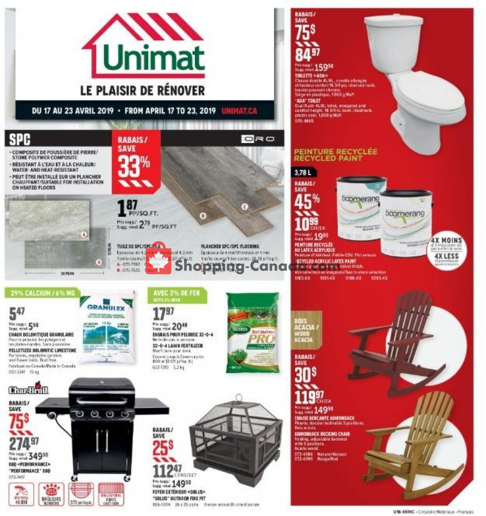 Flyer Unimat Canada - from Wednesday April 17, 2019 to Tuesday April 23, 2019
