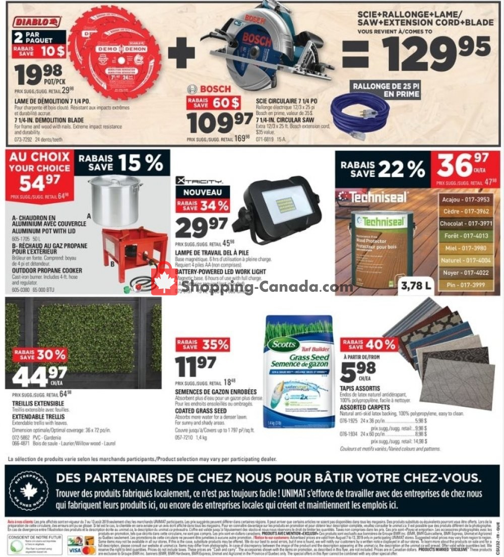 Flyer Unimat Canada - from Wednesday August 7, 2019 to Tuesday August 13, 2019