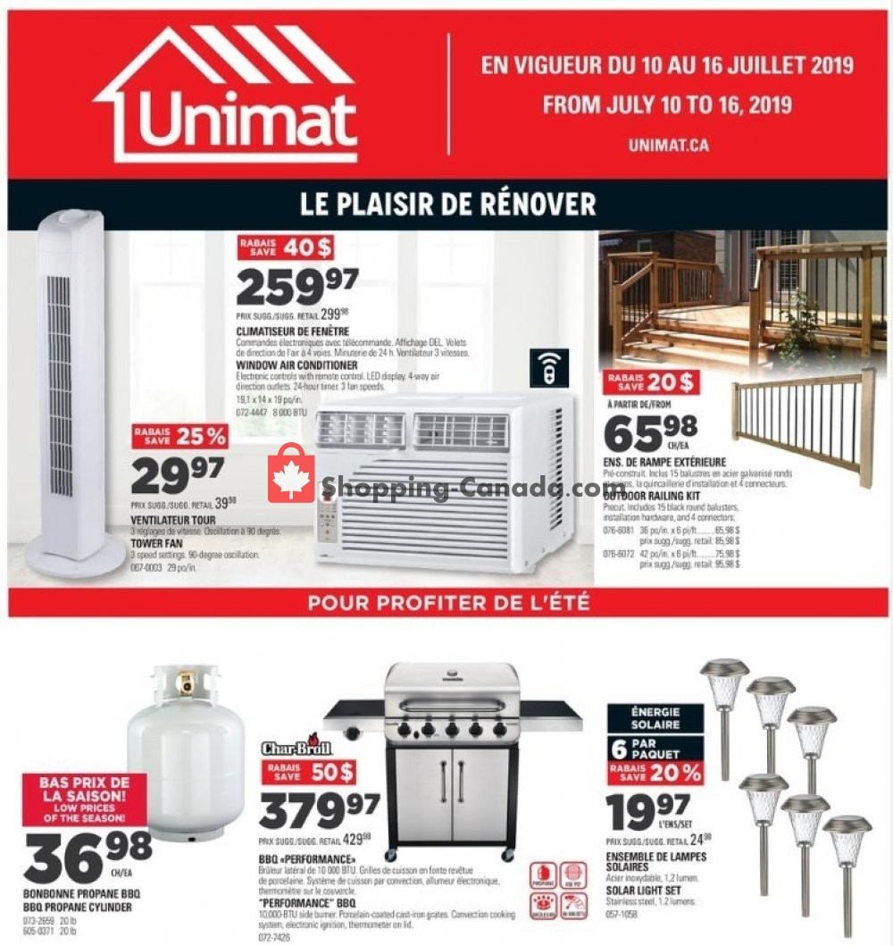 Flyer Unimat Canada - from Wednesday July 10, 2019 to Tuesday July 16, 2019
