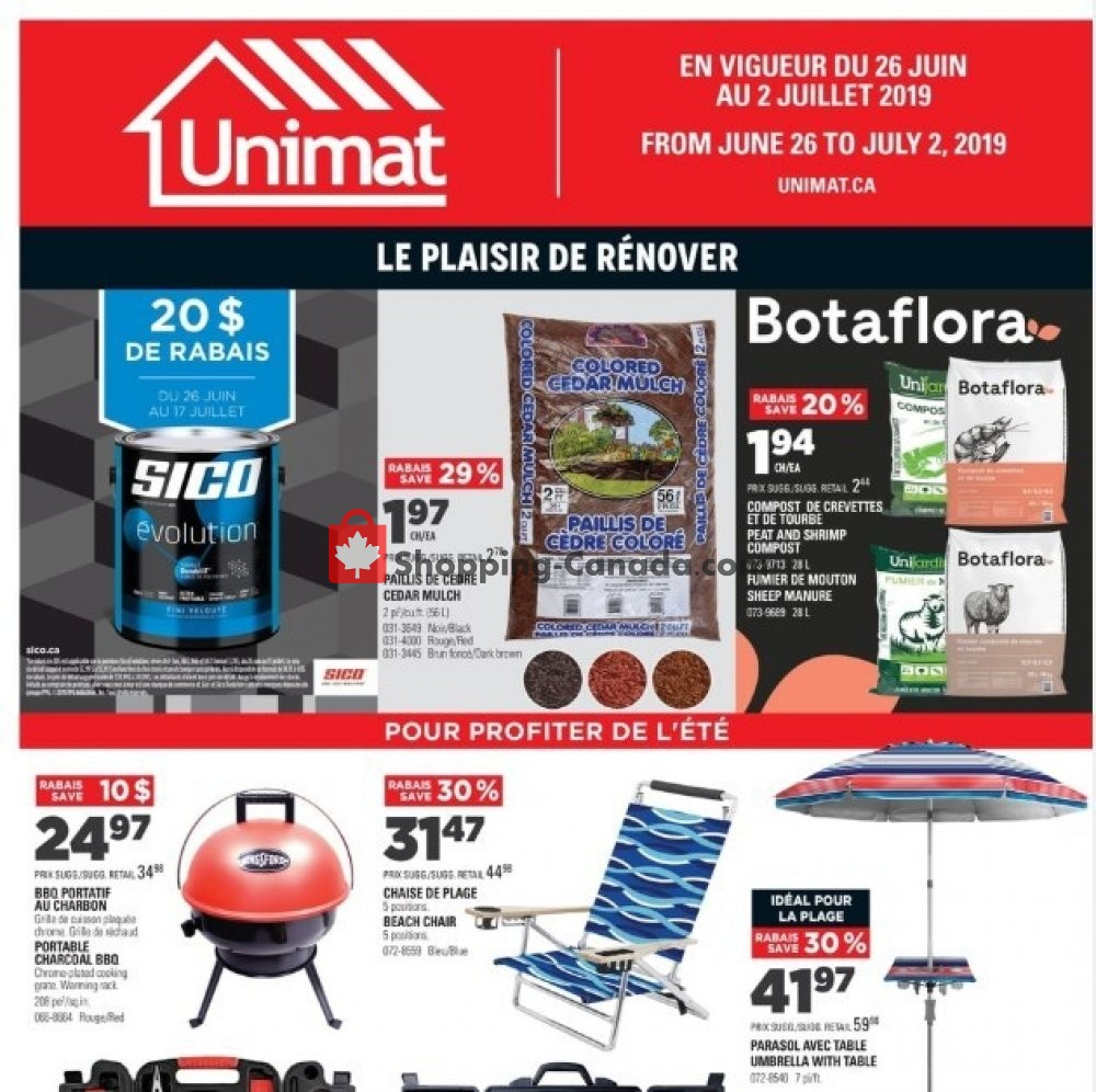 Flyer Unimat Canada - from Wednesday June 26, 2019 to Tuesday July 2, 2019