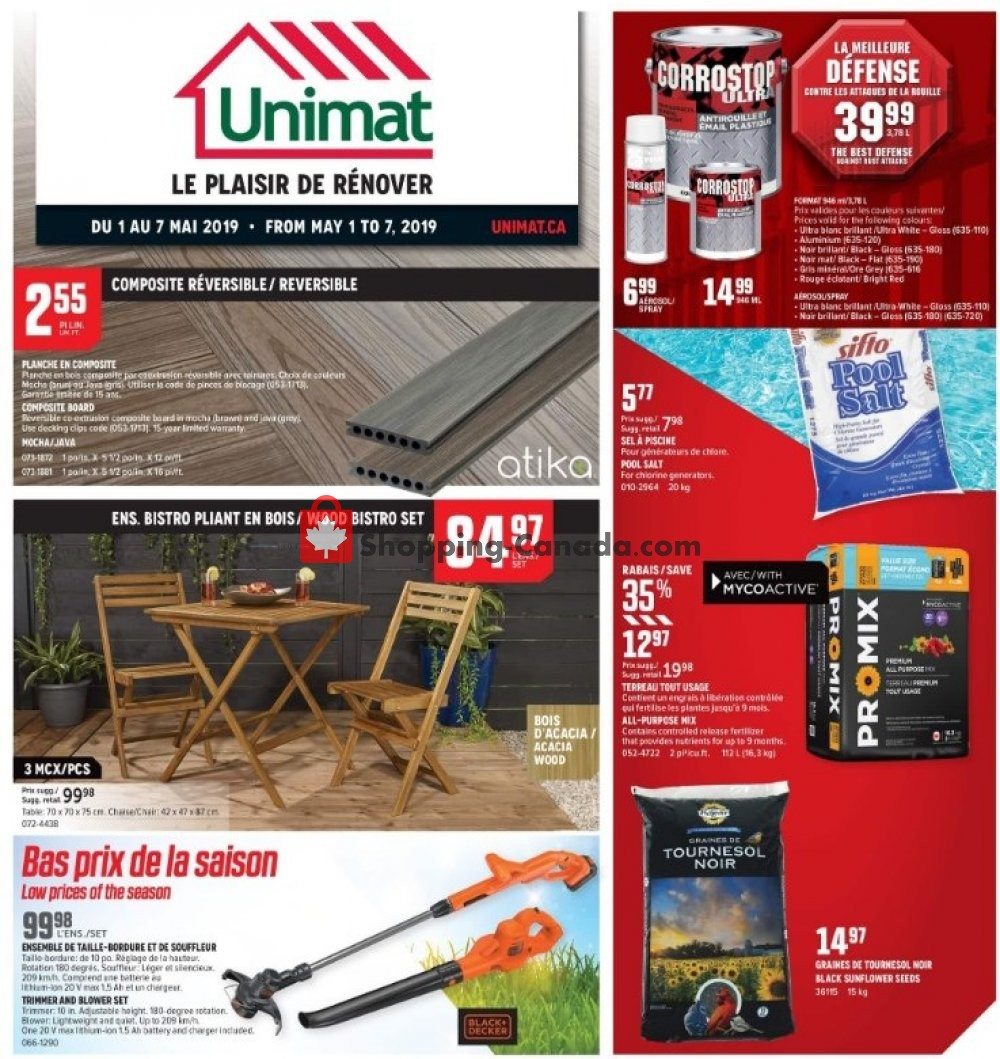 Flyer Unimat Canada - from Wednesday May 1, 2019 to Tuesday May 7, 2019