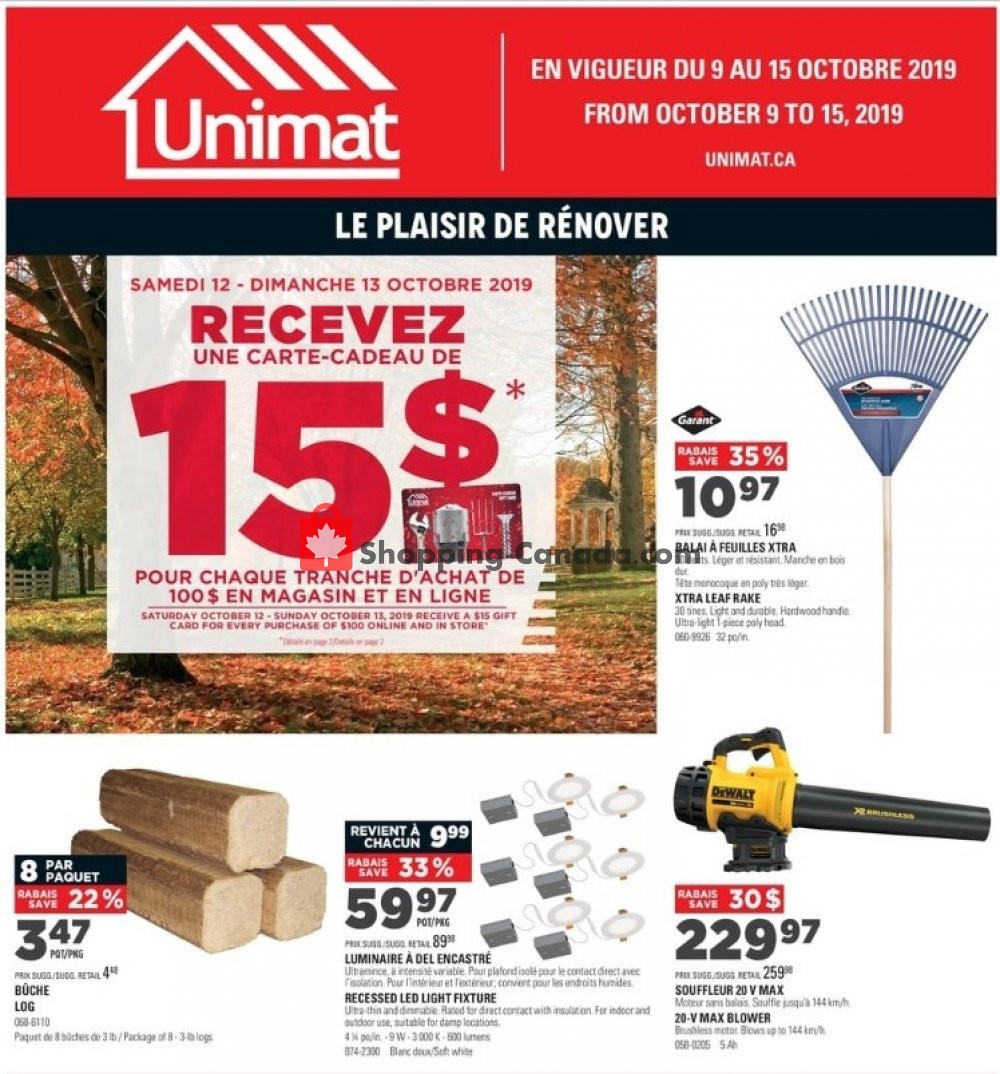 Flyer Unimat Canada - from Wednesday October 9, 2019 to Tuesday October 15, 2019