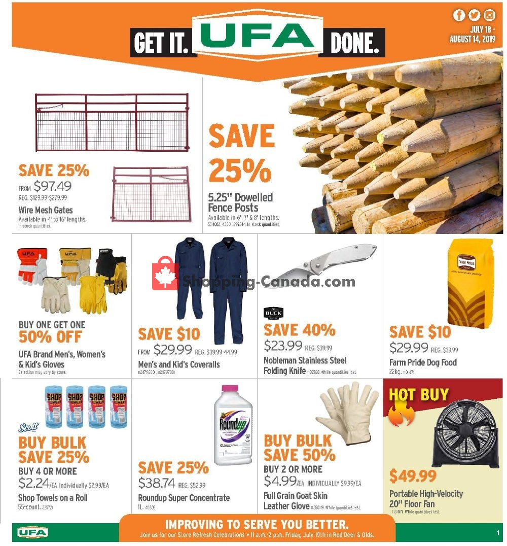 Flyer United Farmers Of Alberta Canada - from Thursday July 18, 2019 to Wednesday August 14, 2019