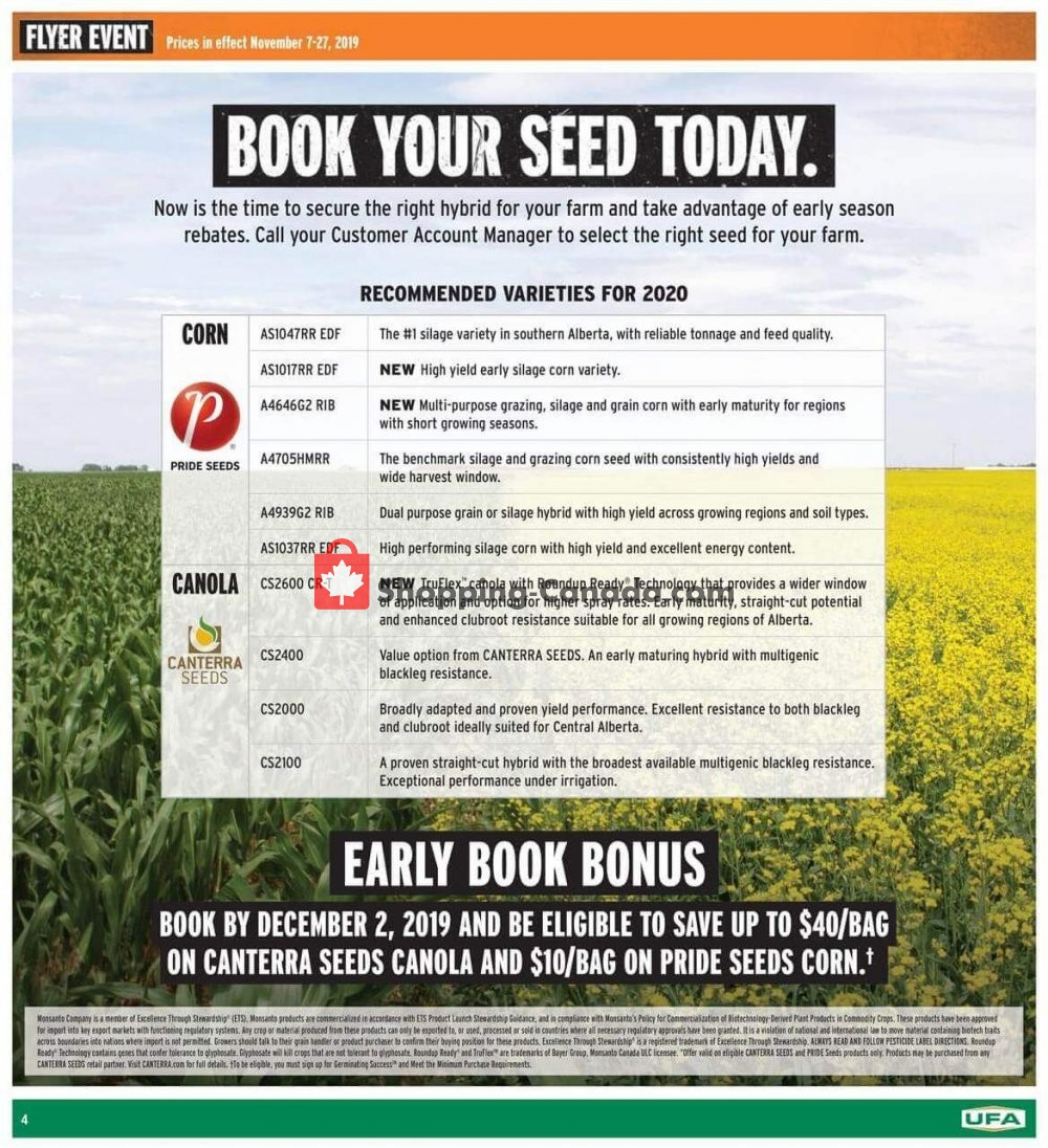 Flyer United Farmers Of Alberta Canada - from Thursday November 7, 2019 to Wednesday November 27, 2019